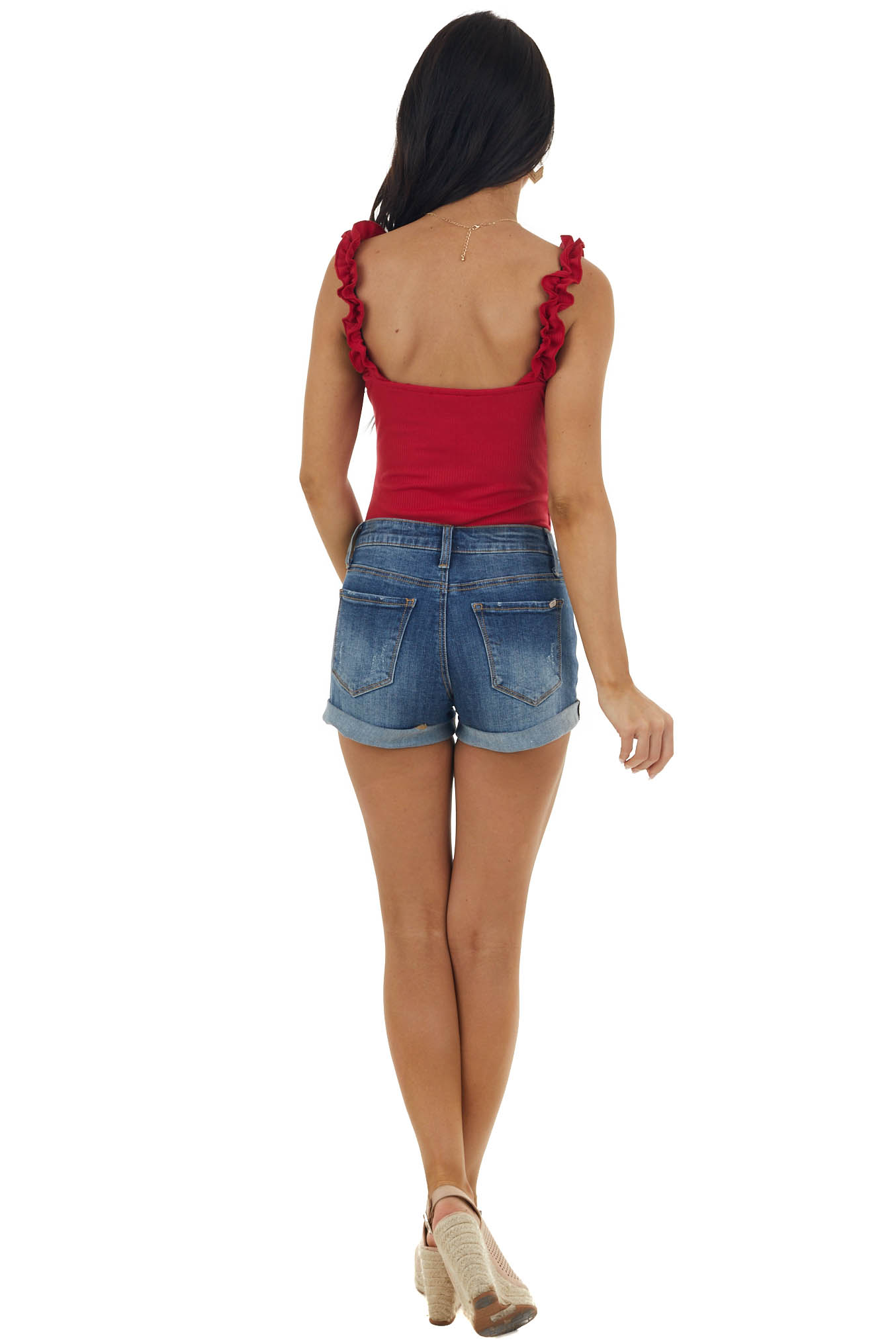 Lipstick Red Bodysuit with Frill Detail