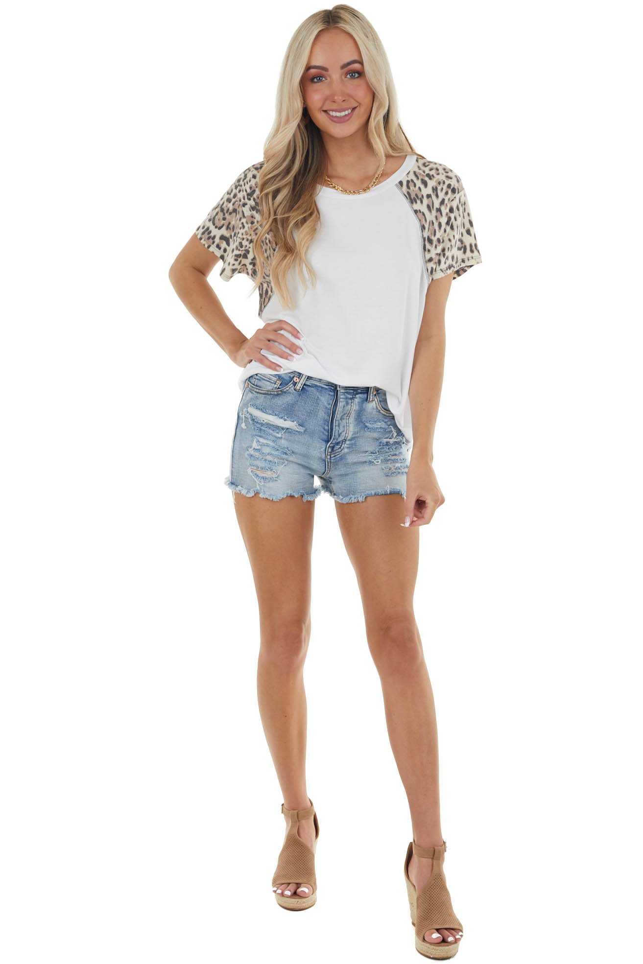 Off White Top with Contrasting Leopard Sleeves
