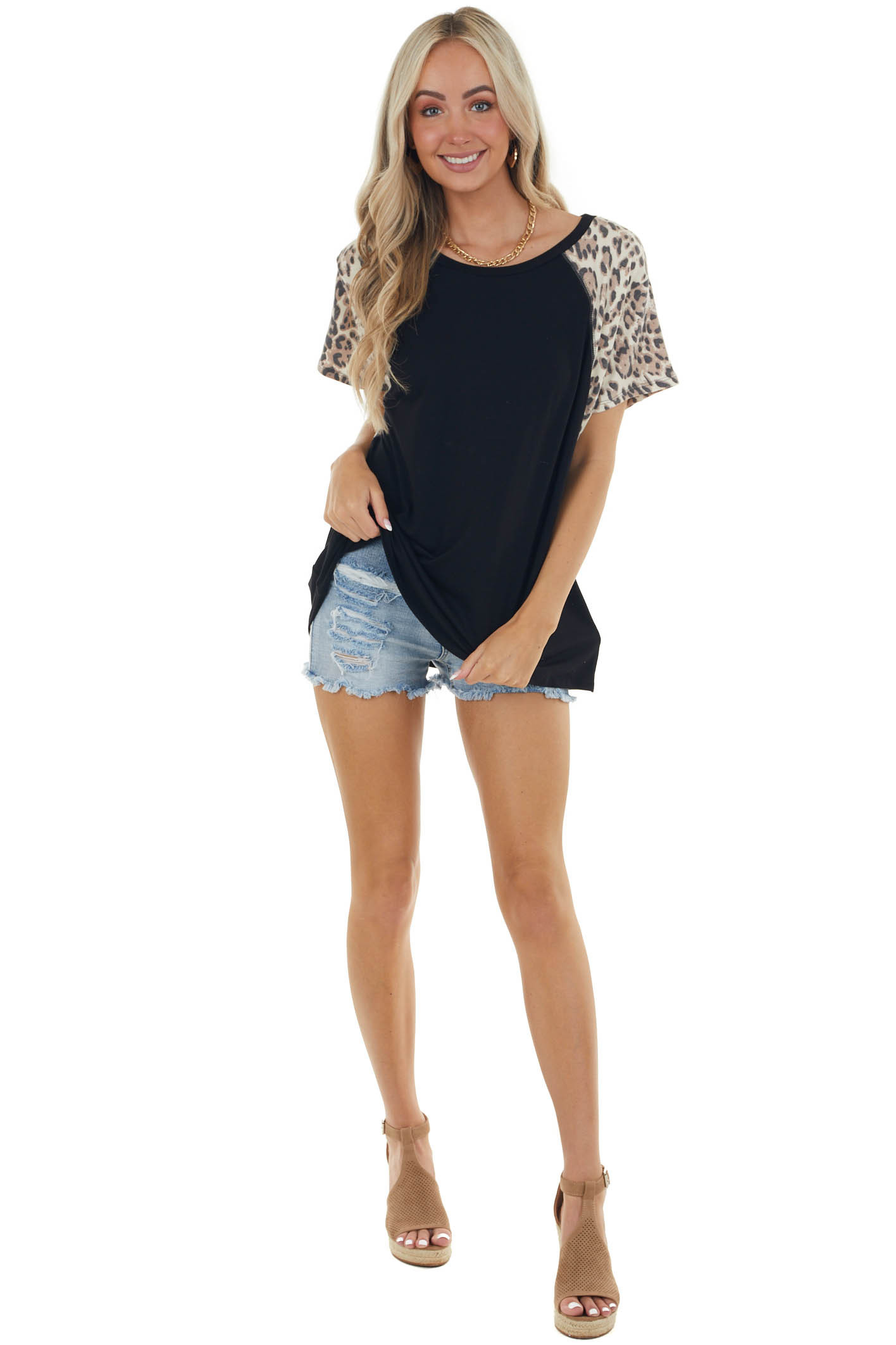 Black Top with Contrasting Leopard Sleeves
