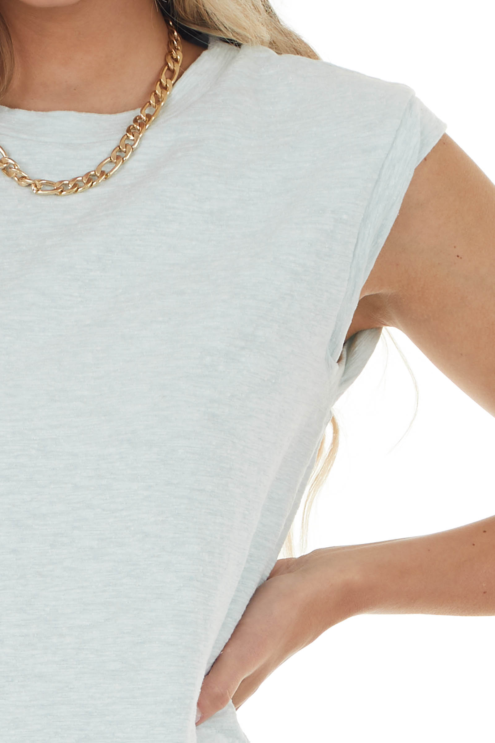 Pastel Mint Tank Top with Twisted Band Detail