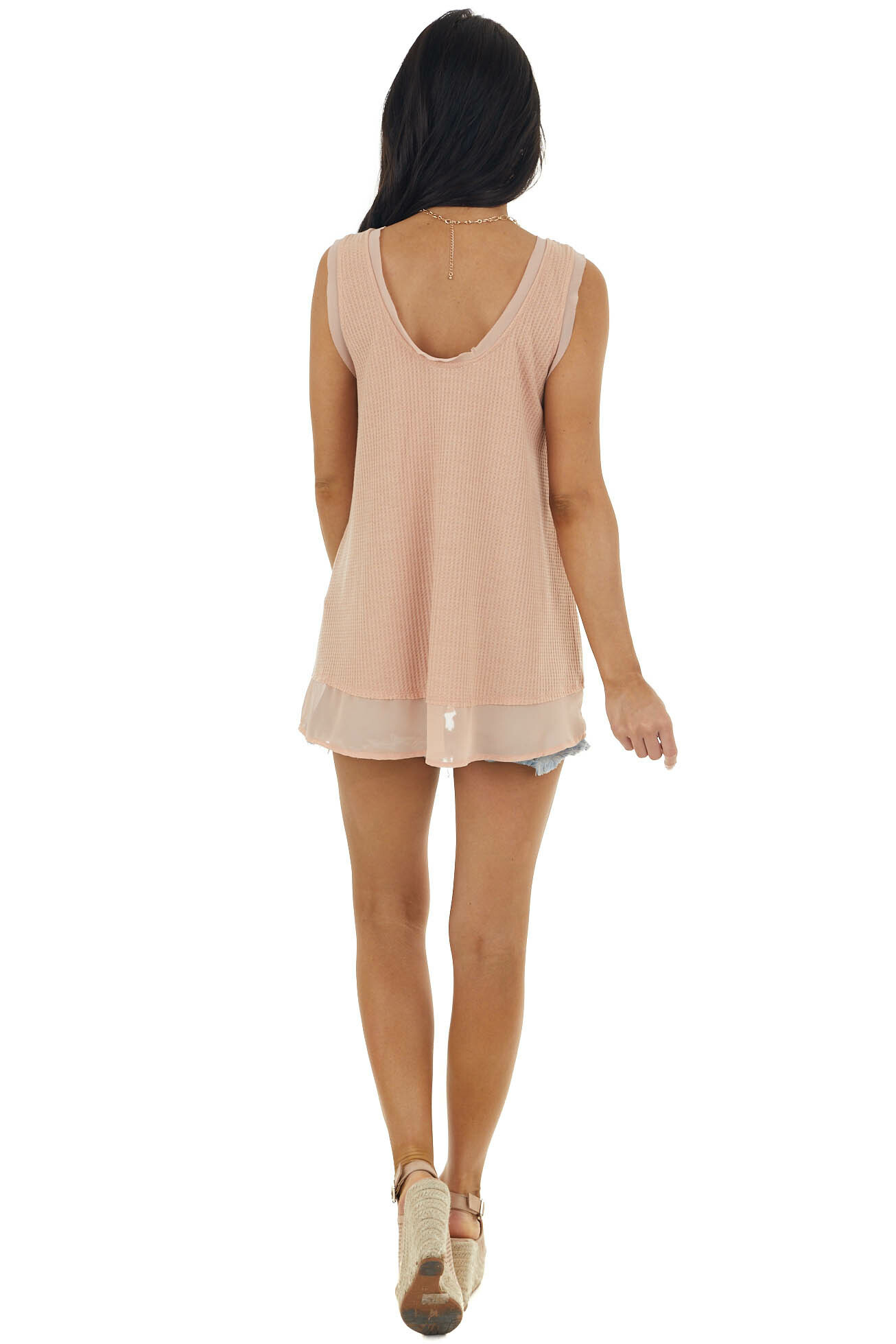 Apricot Waffle Knit Tank with Sheer Detail