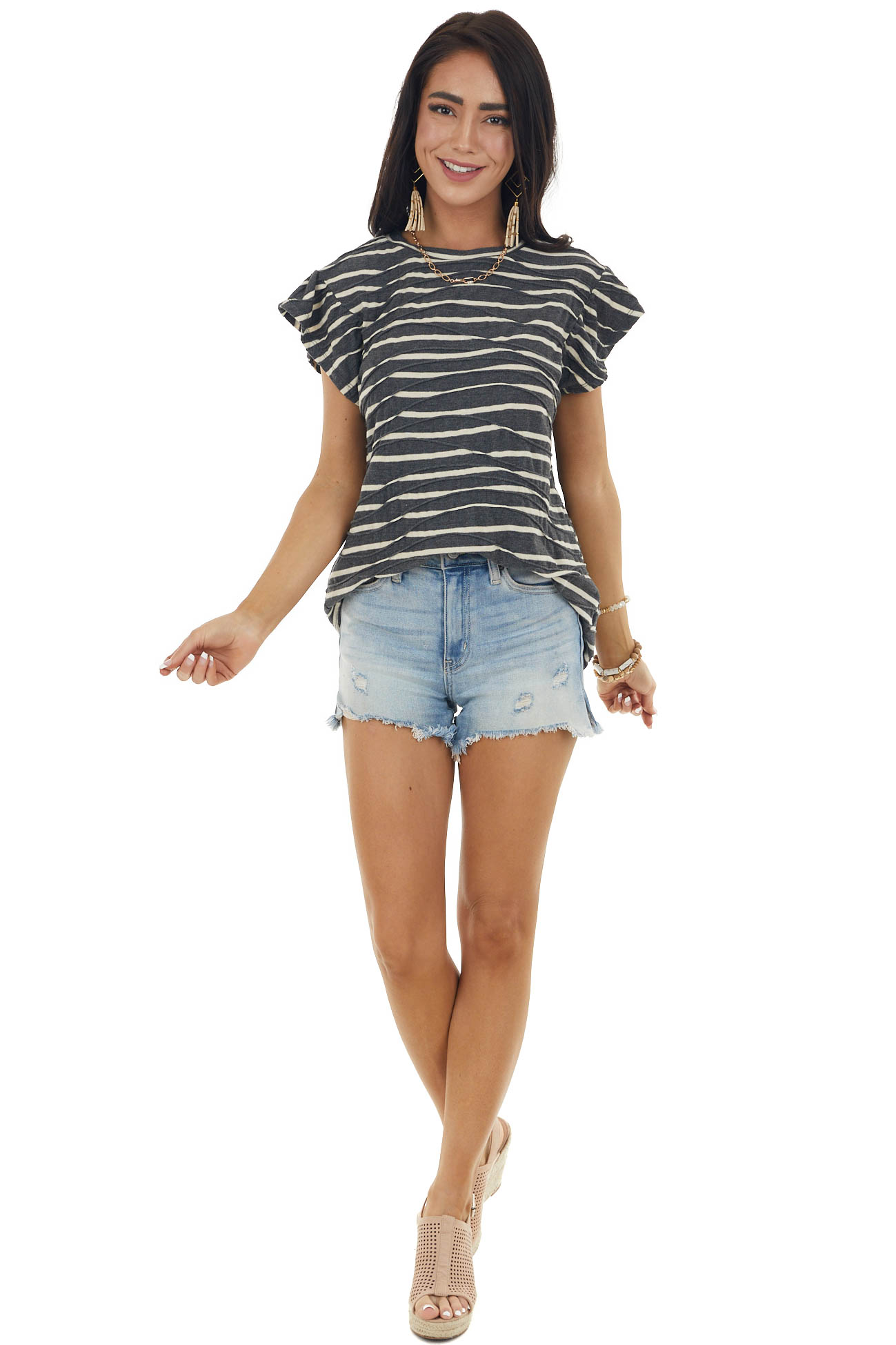 Charcoal Striped Textured Ruffle Sleeve Top