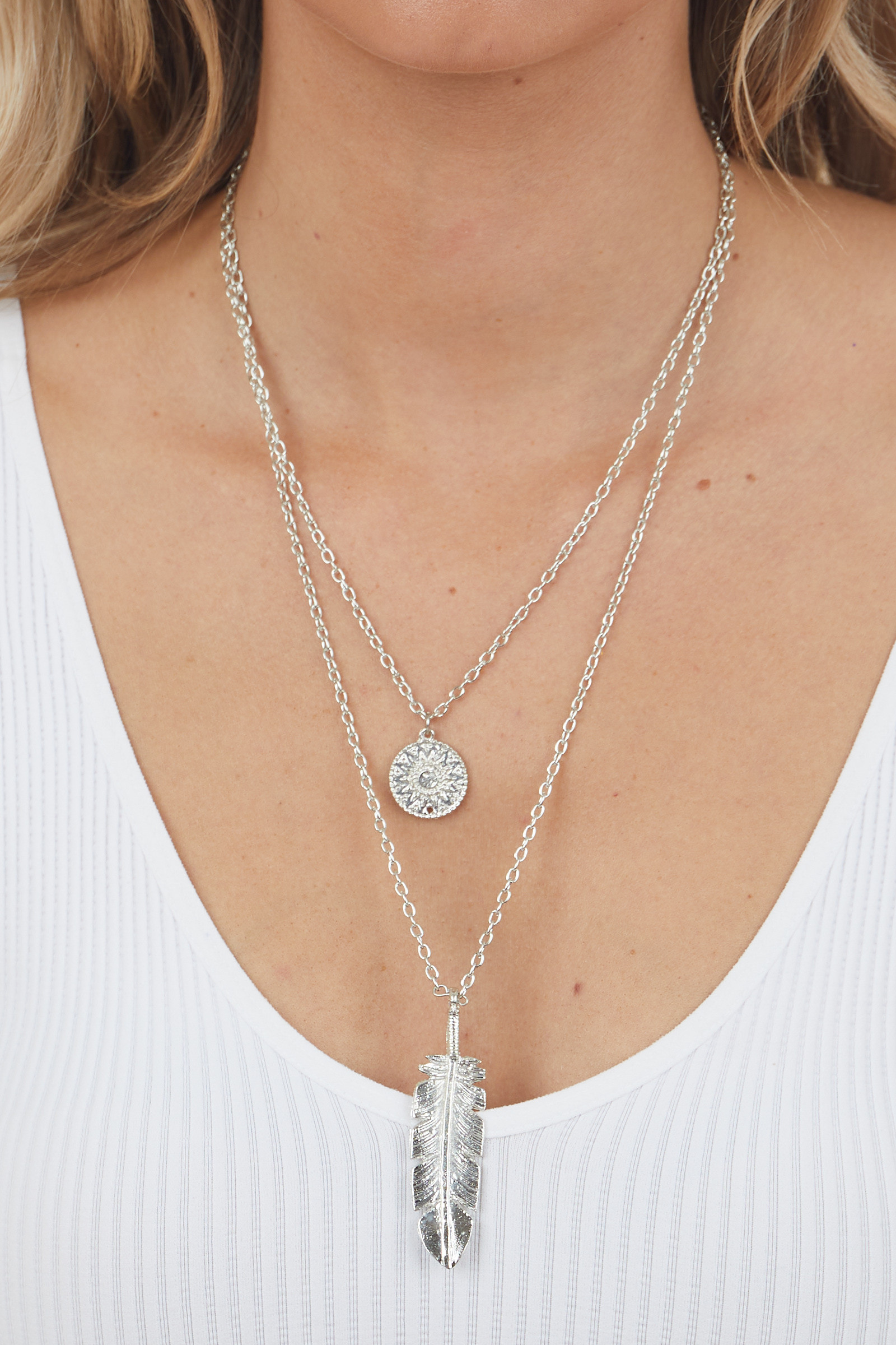 Silver Double Layer Feather Pendant Necklace