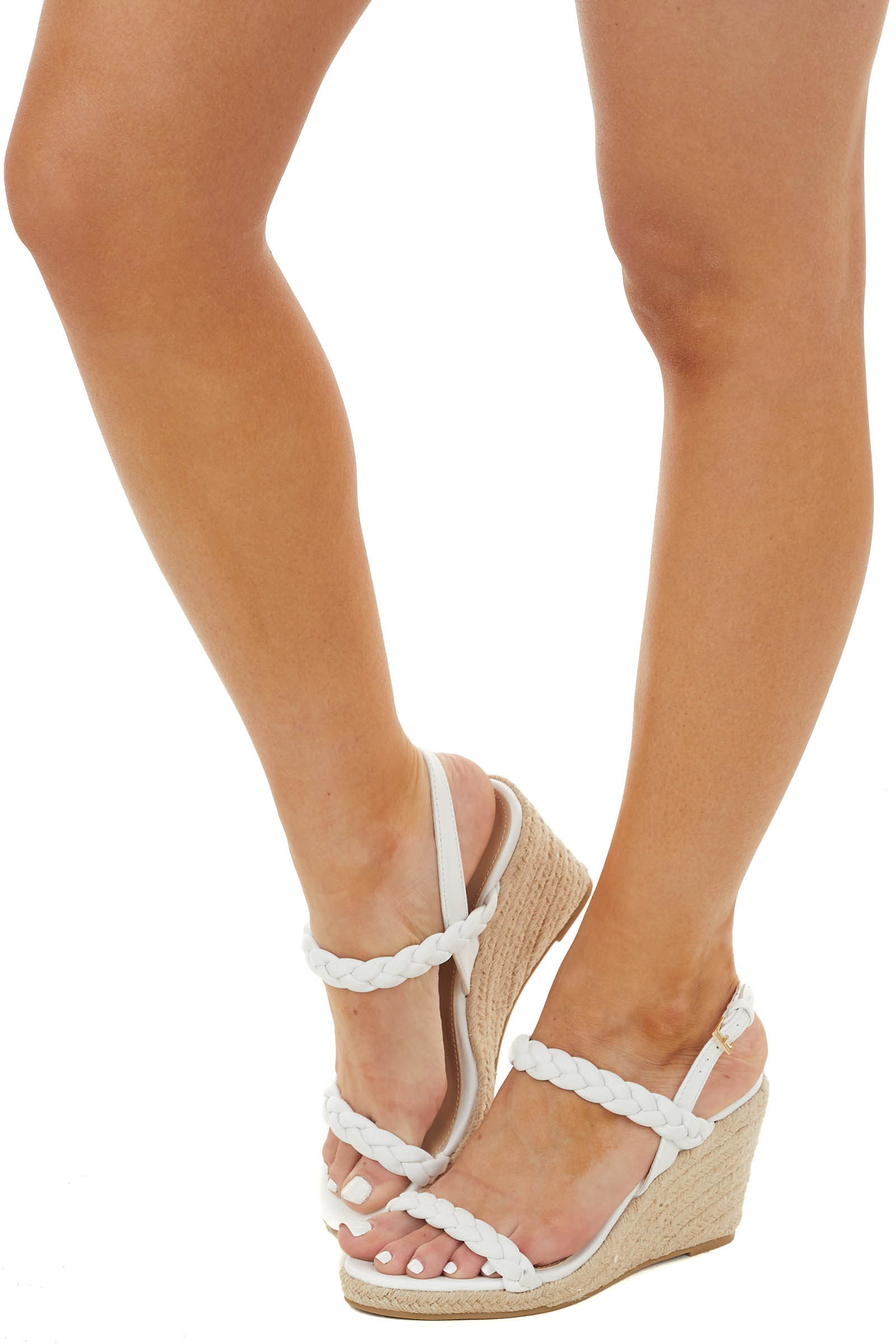 White Braided Strap Open Toe Espadrille Wedges