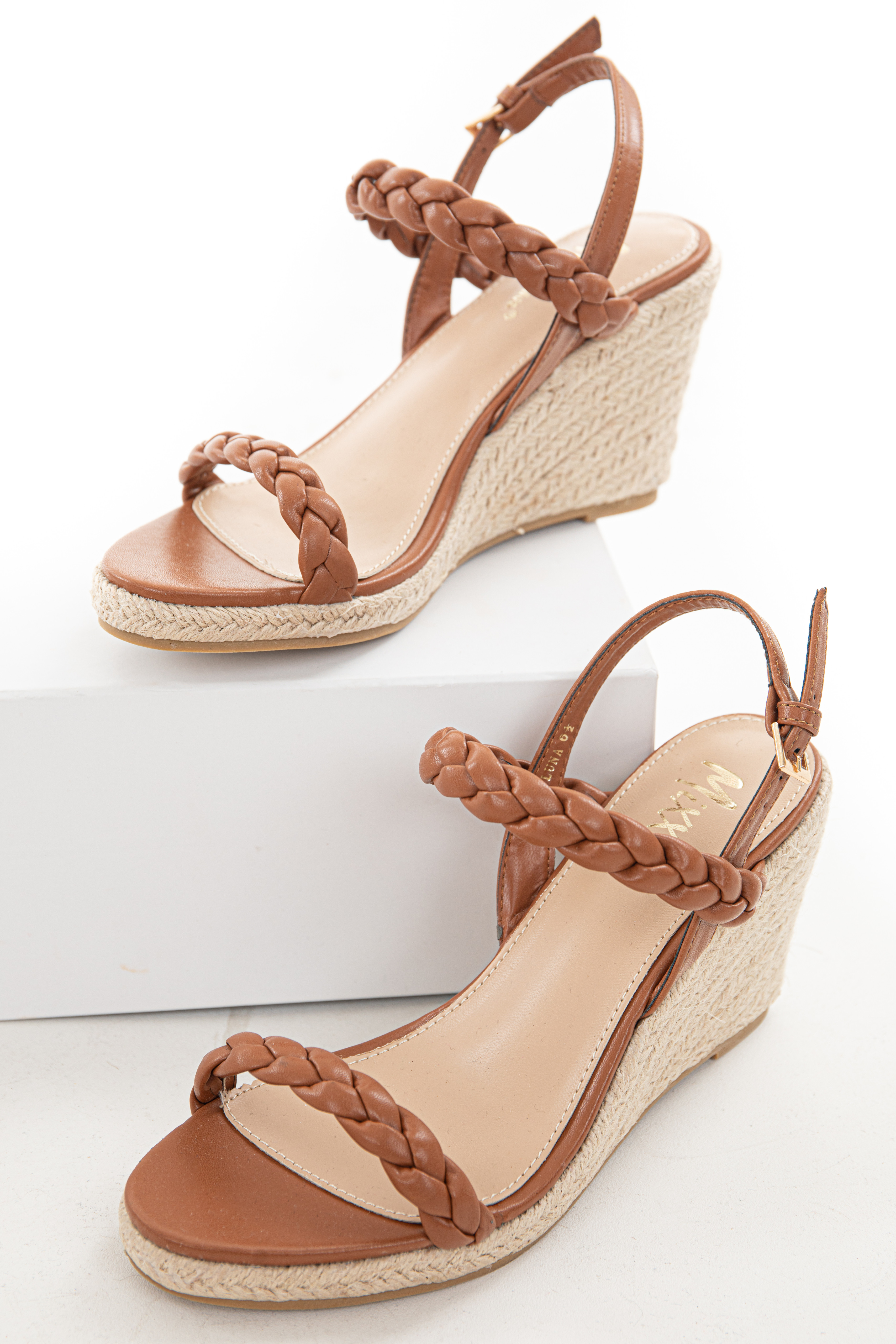 Spice Braided Strap Open Toe Espadrille Wedges