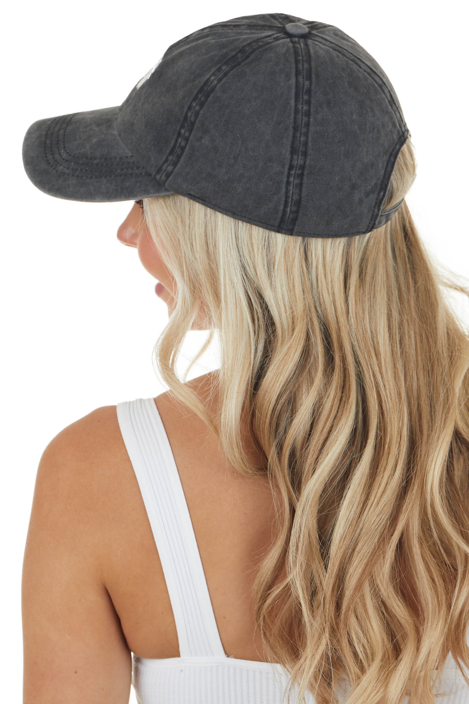 Mineral Washed Embroidered Daisy Baseball Cap