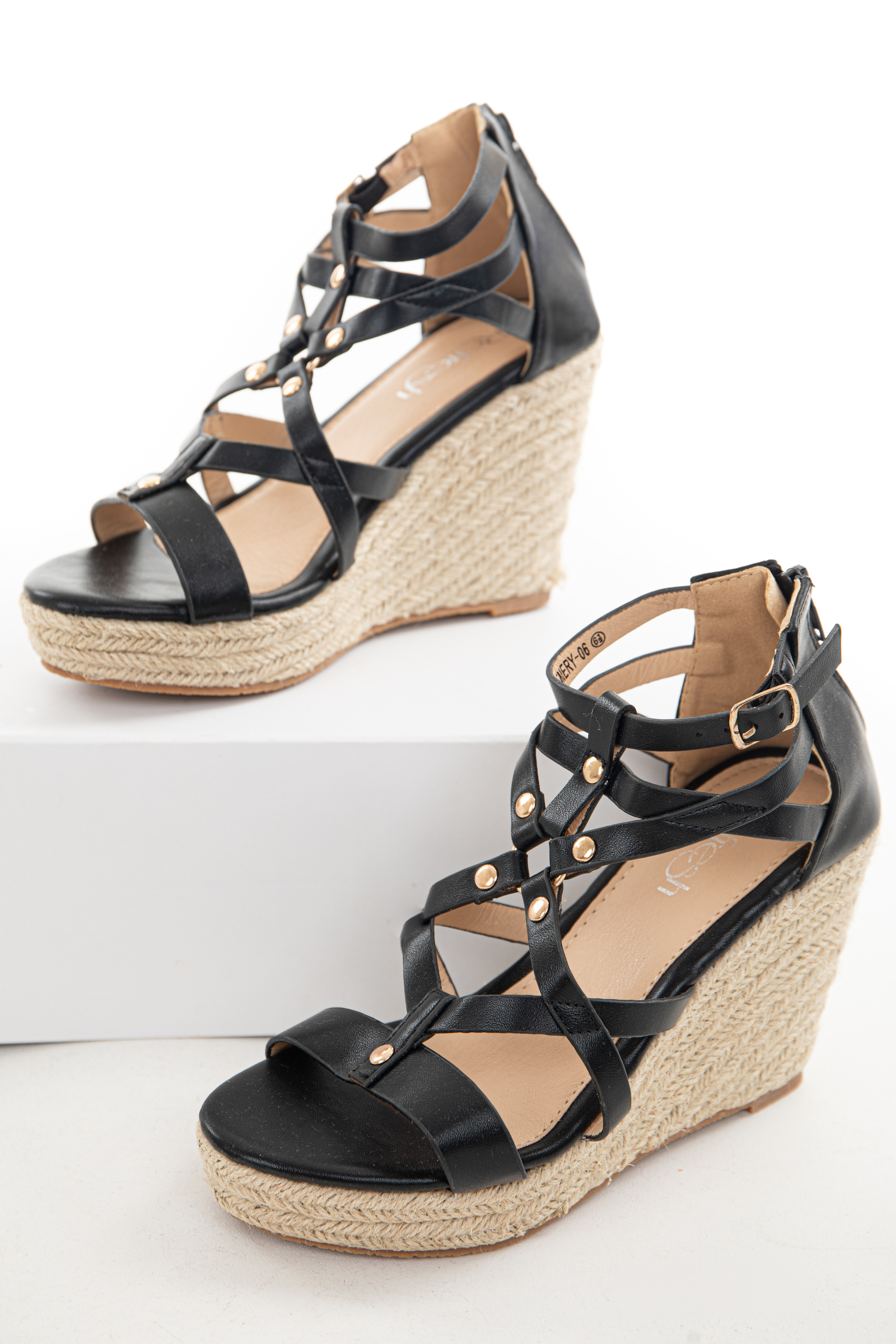 Black Strappy Espadrille Wedges with Studs