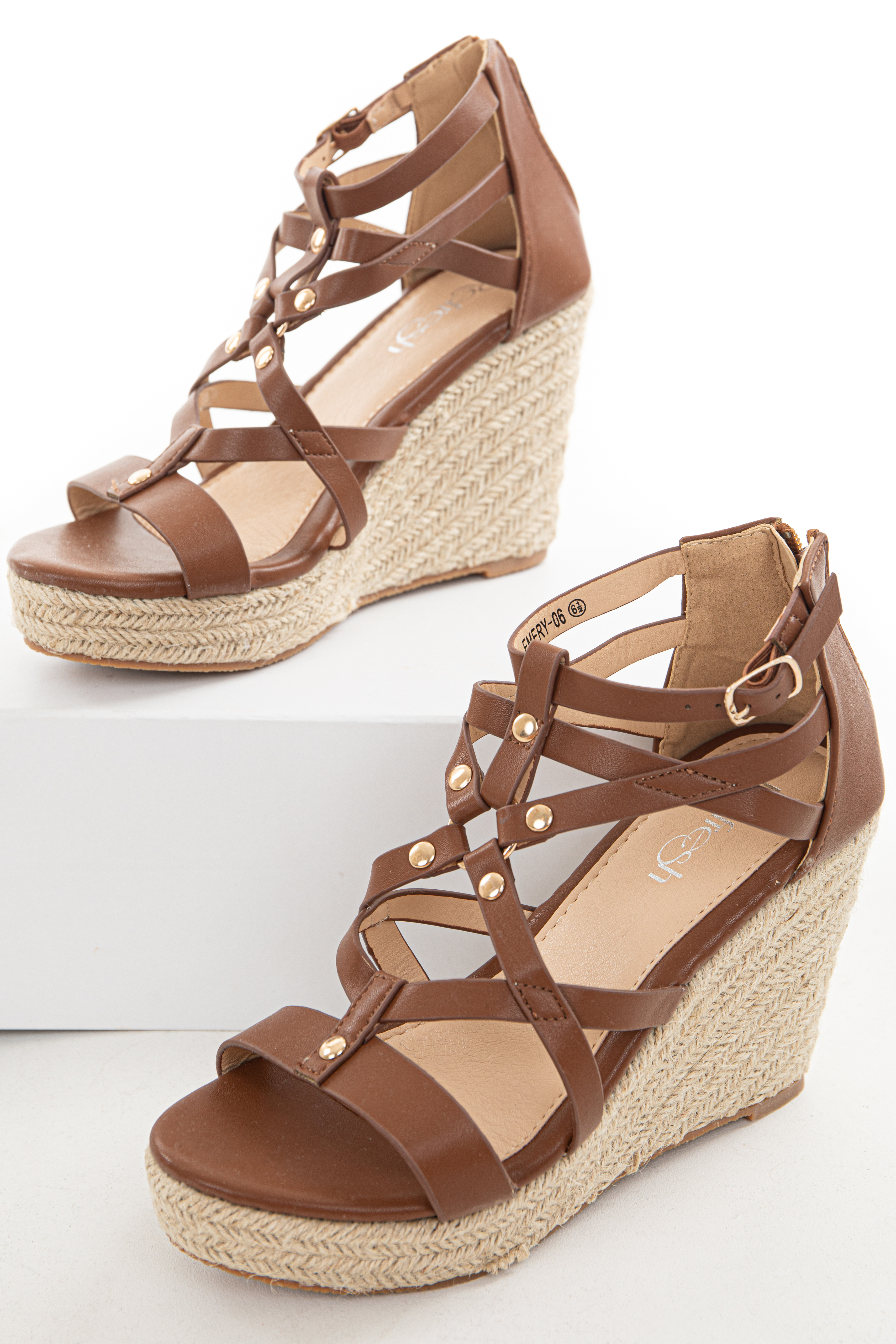 Cinnamon Strappy Espadrille Wedges with Studs