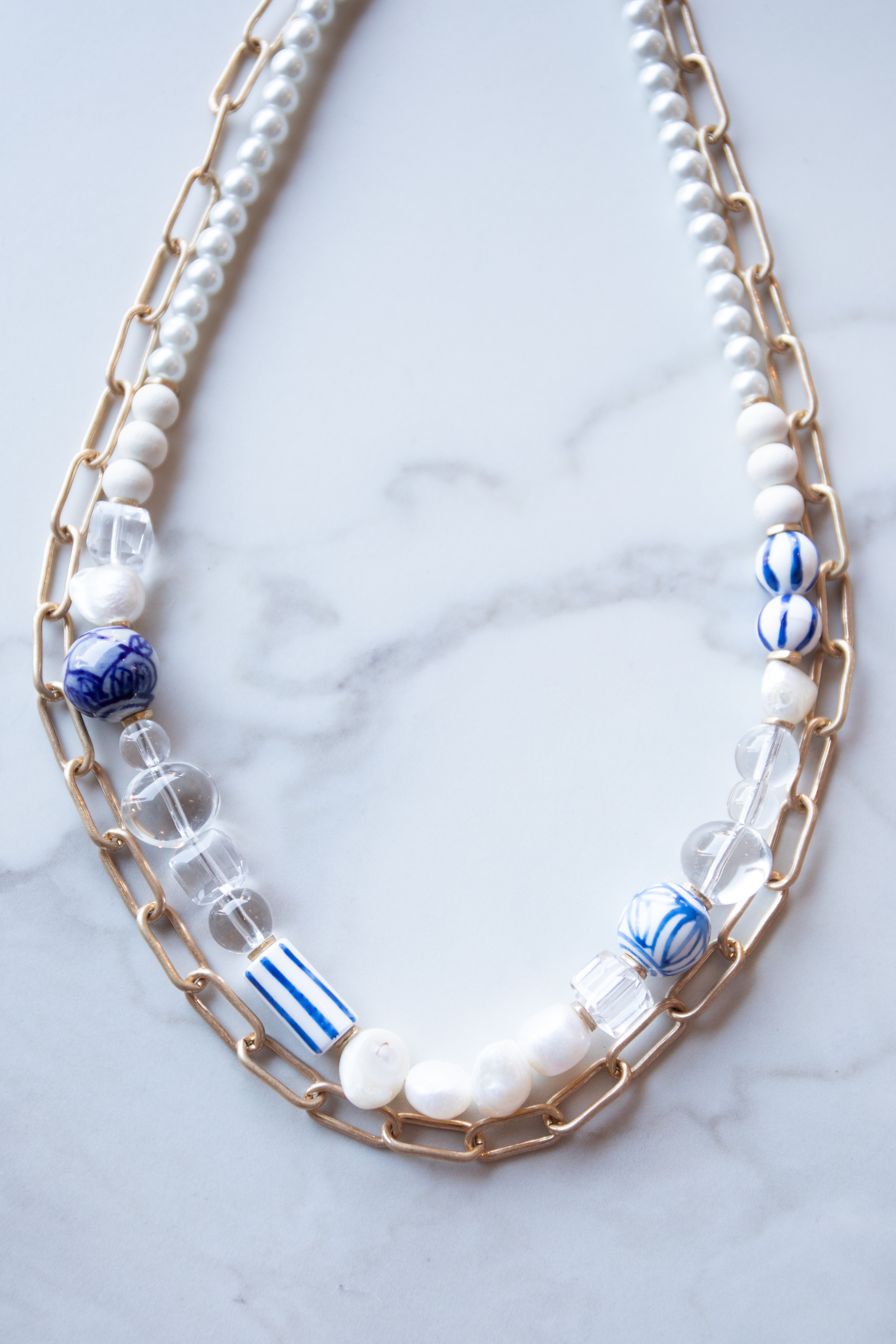 Gold Chain Double Layer Pearl Beaded Necklace