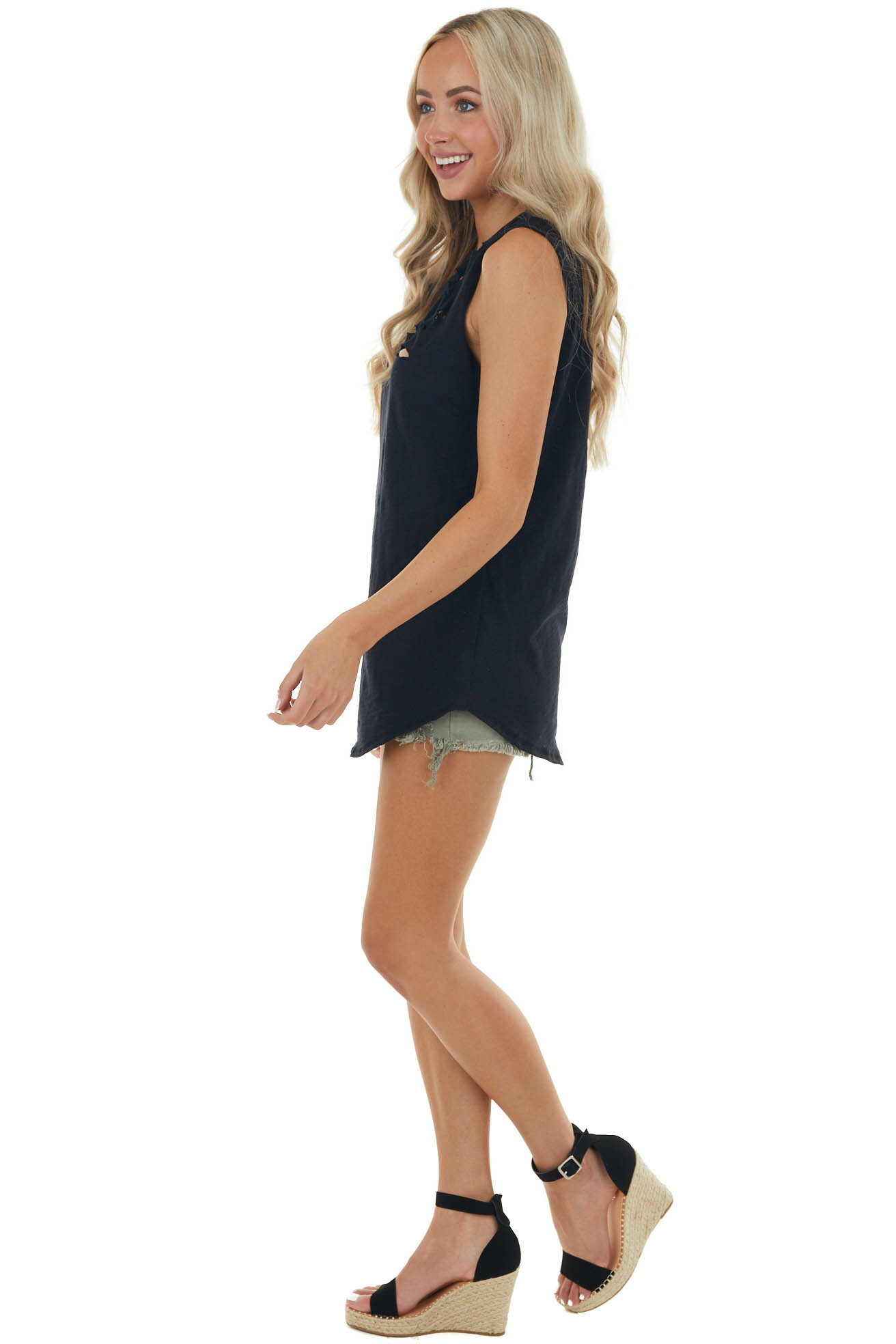 Black Tank Top with Distressed Details