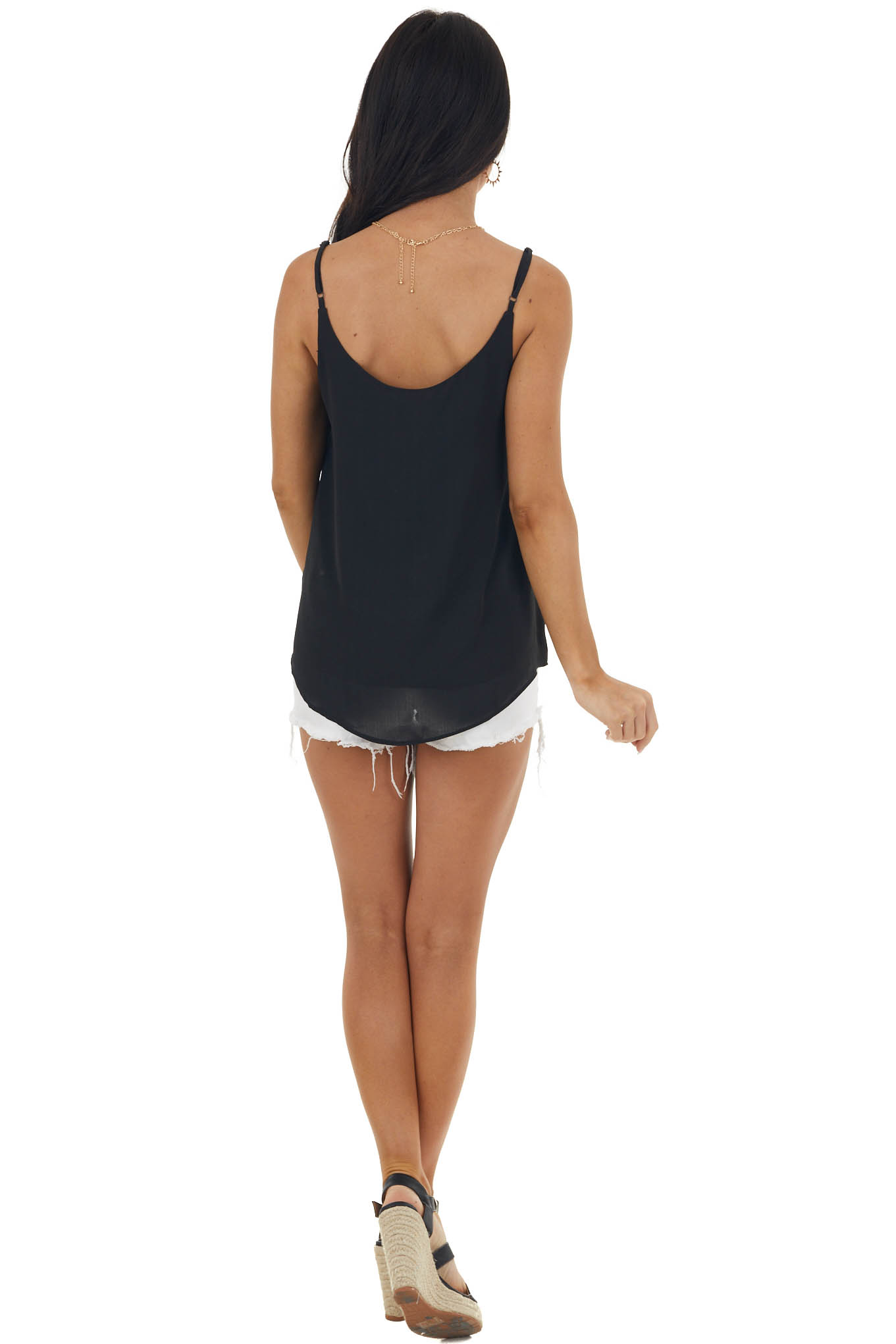 Black Tank Top with V Neck and Mesh Trim