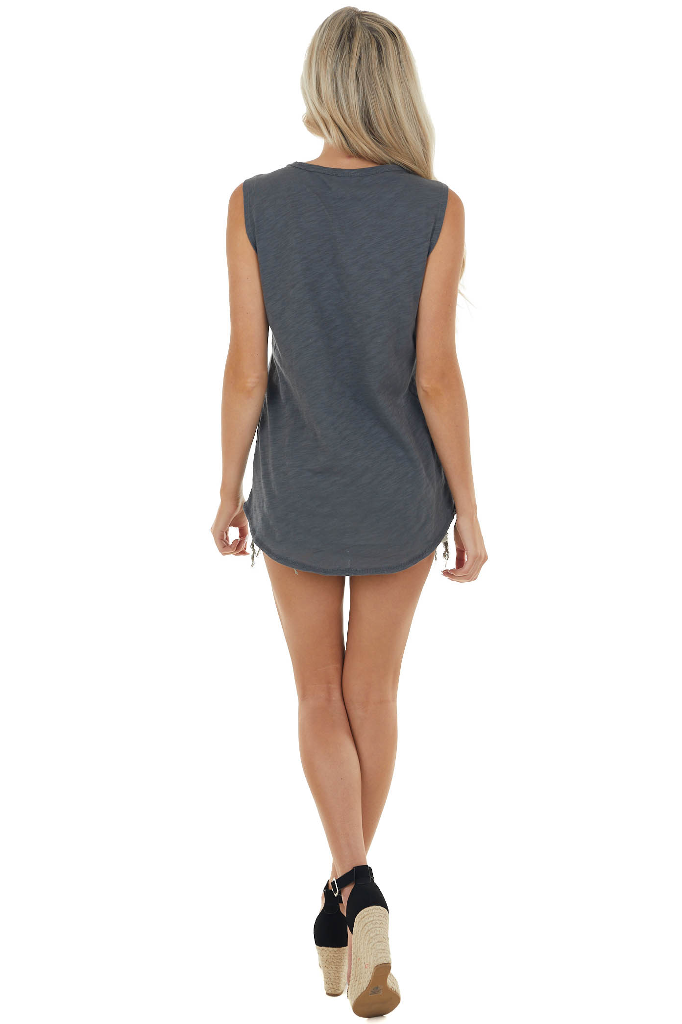 Charcoal Tank Top with Distressed Details