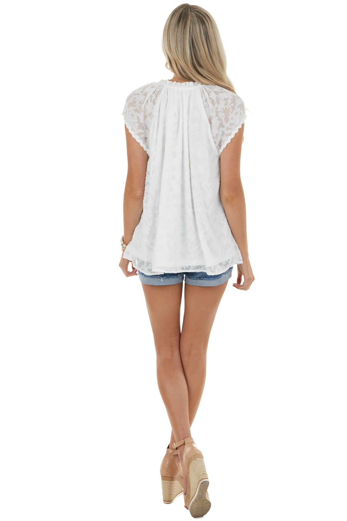 Off White Textured Woven Short Sleeve Top
