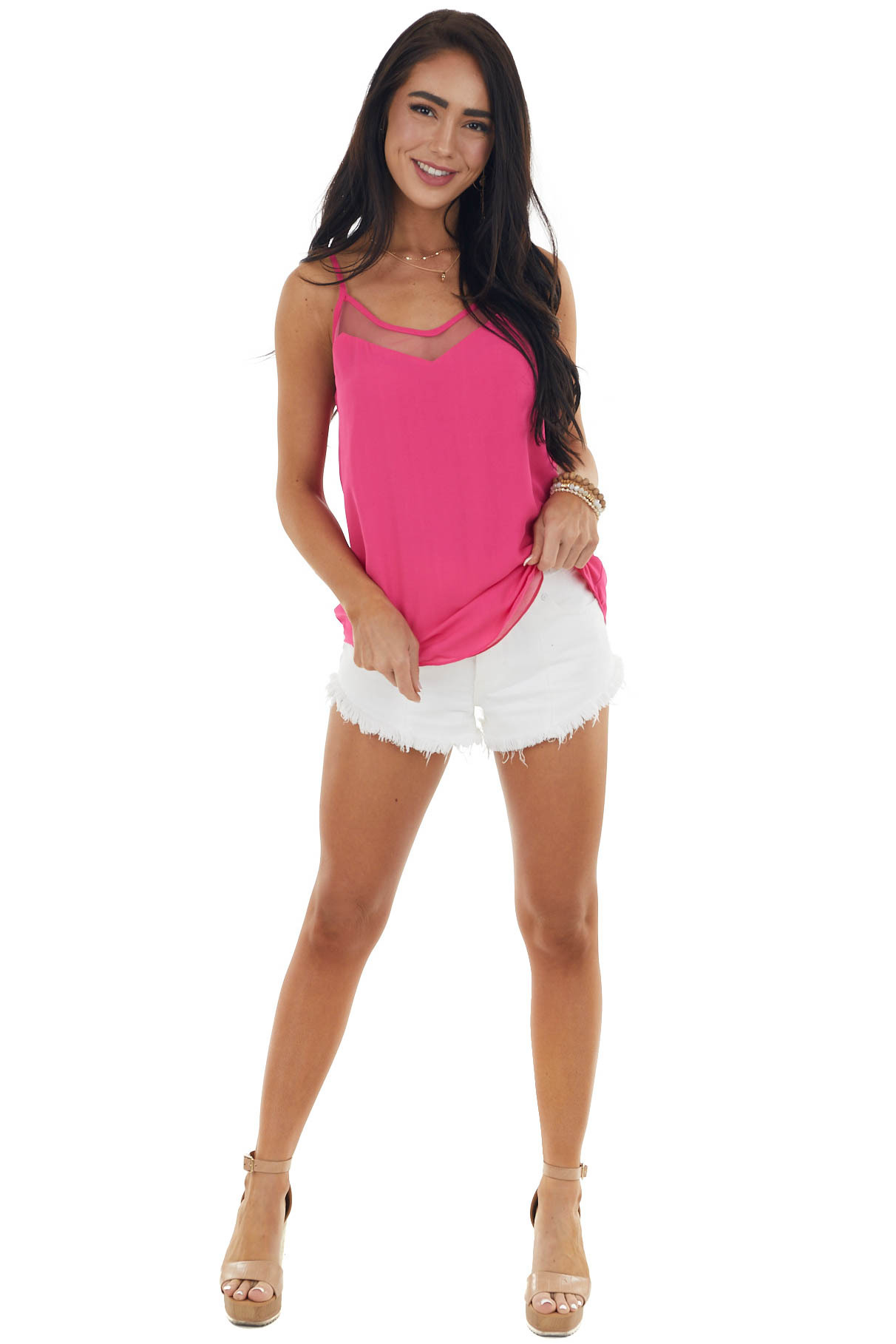 Magenta Tank Top with V Neck and Mesh Trim