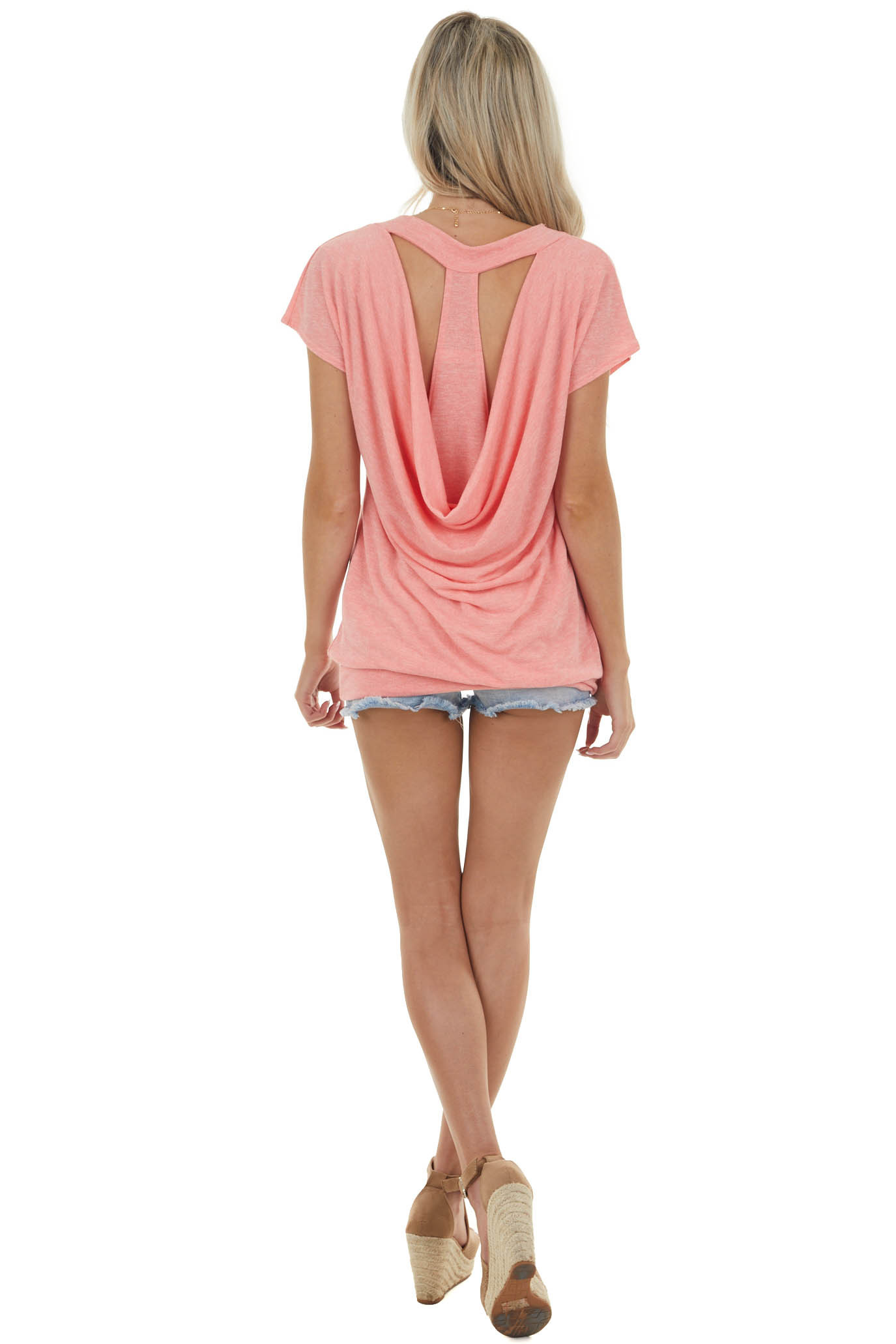 Heathered Coral Cut Out Back Draping Tunic Top