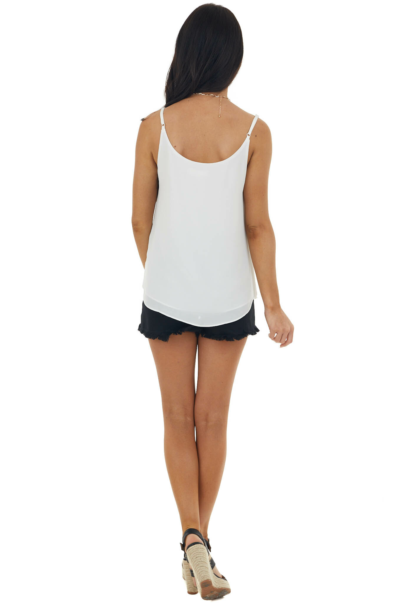 Off White Tank Top with V Neck and Mesh Trim