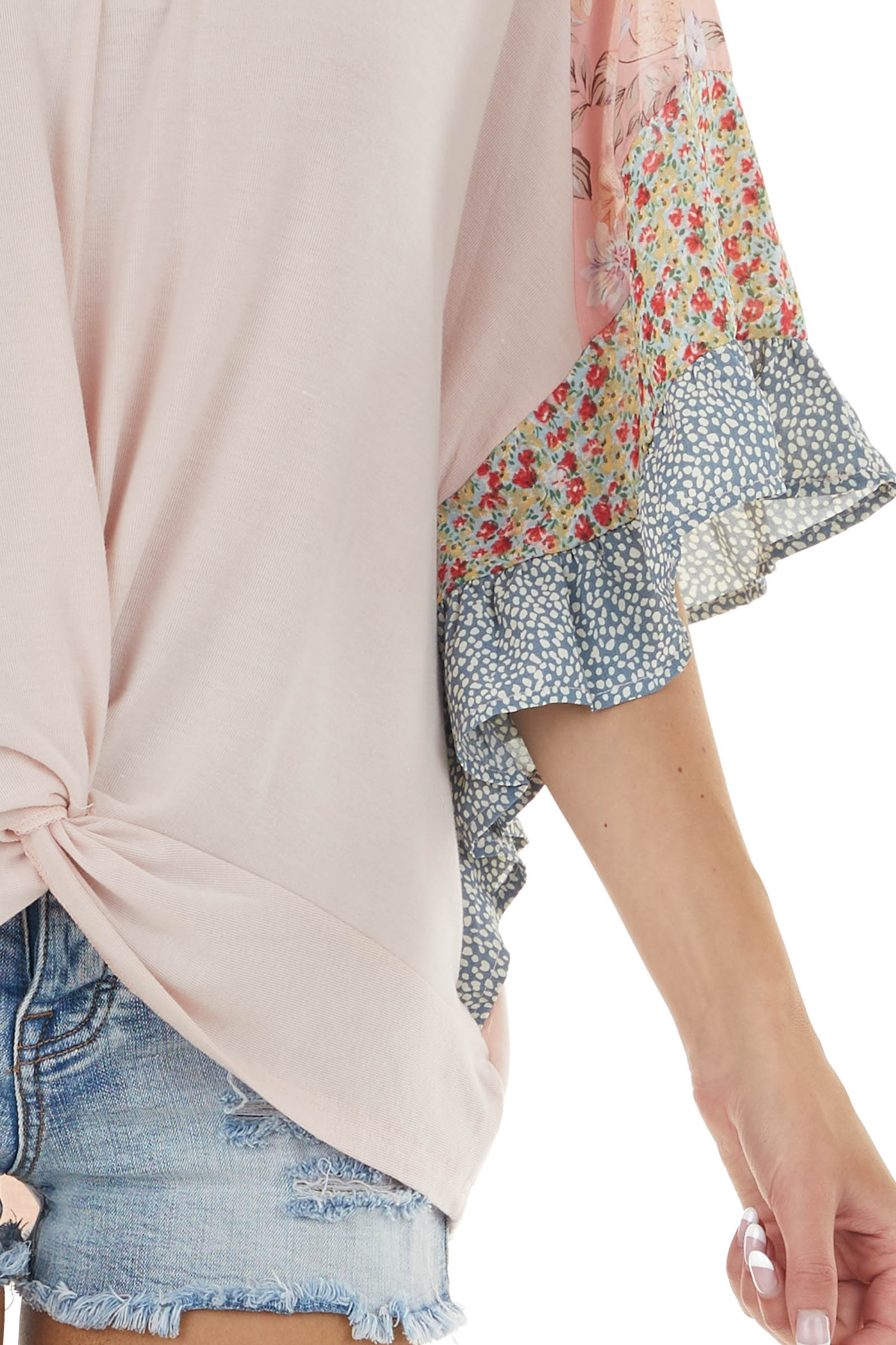 Dusty Blush Multiprint Floral Loose Top