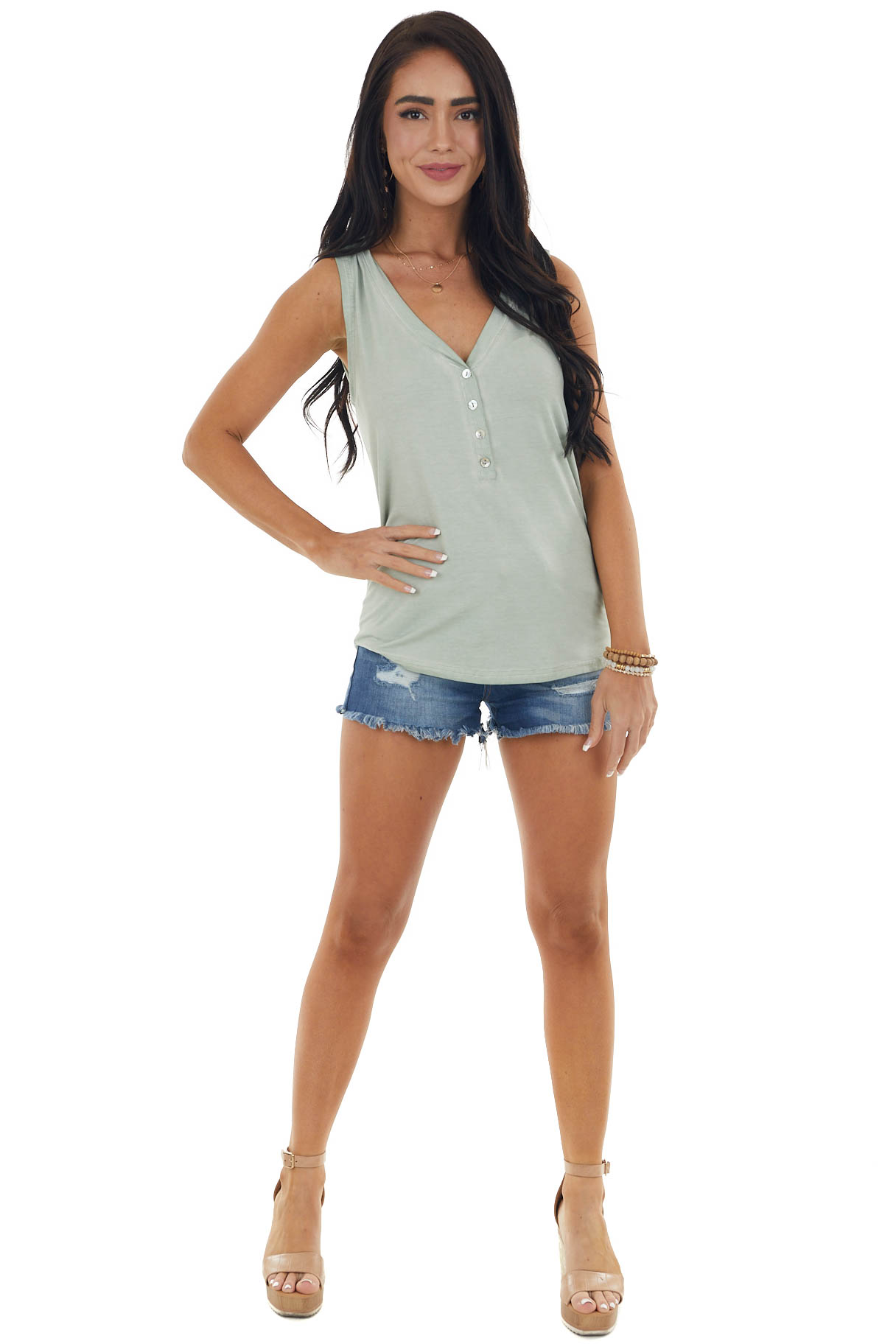 Sage Stretchy Knit Tank Top with Buttons