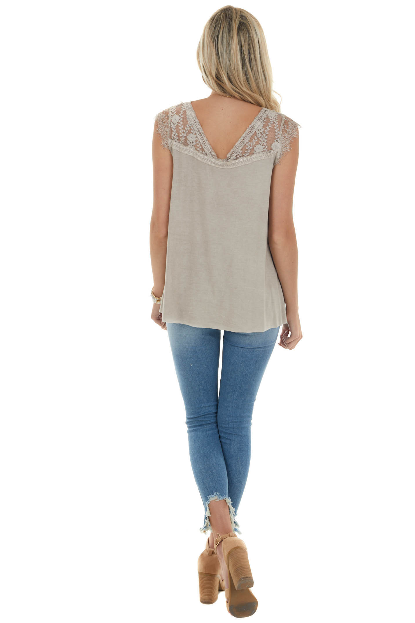 Taupe Cap Sleeve Loose Knit Top with Crochet Lace Detail