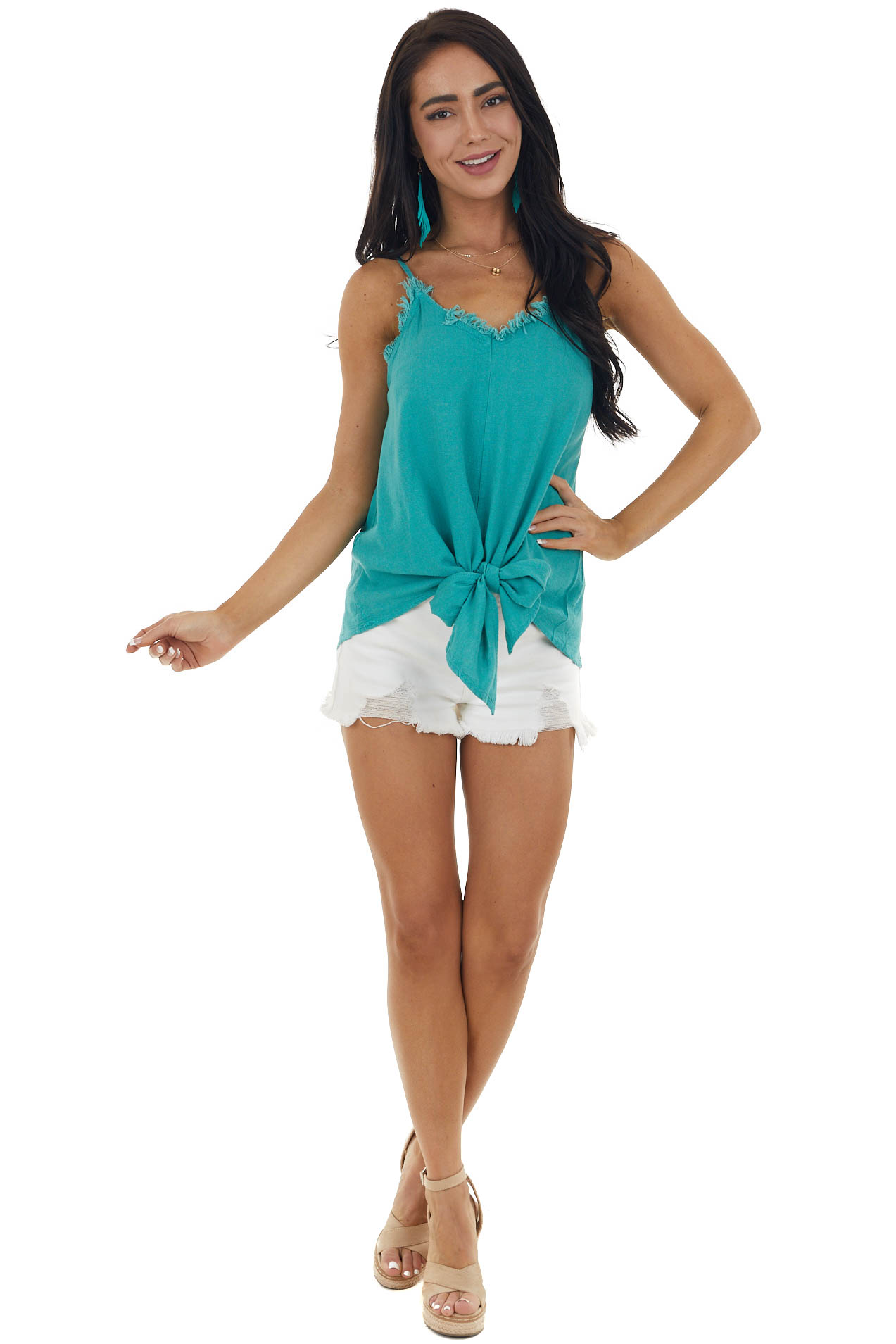 Jade Textured Woven Tank with Raw Neckline and Front Tie