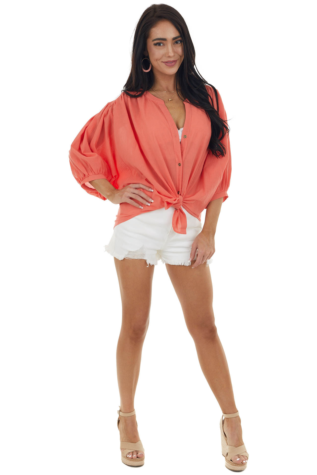 Bright Coral Dolman Sleeve Button Down Blouse