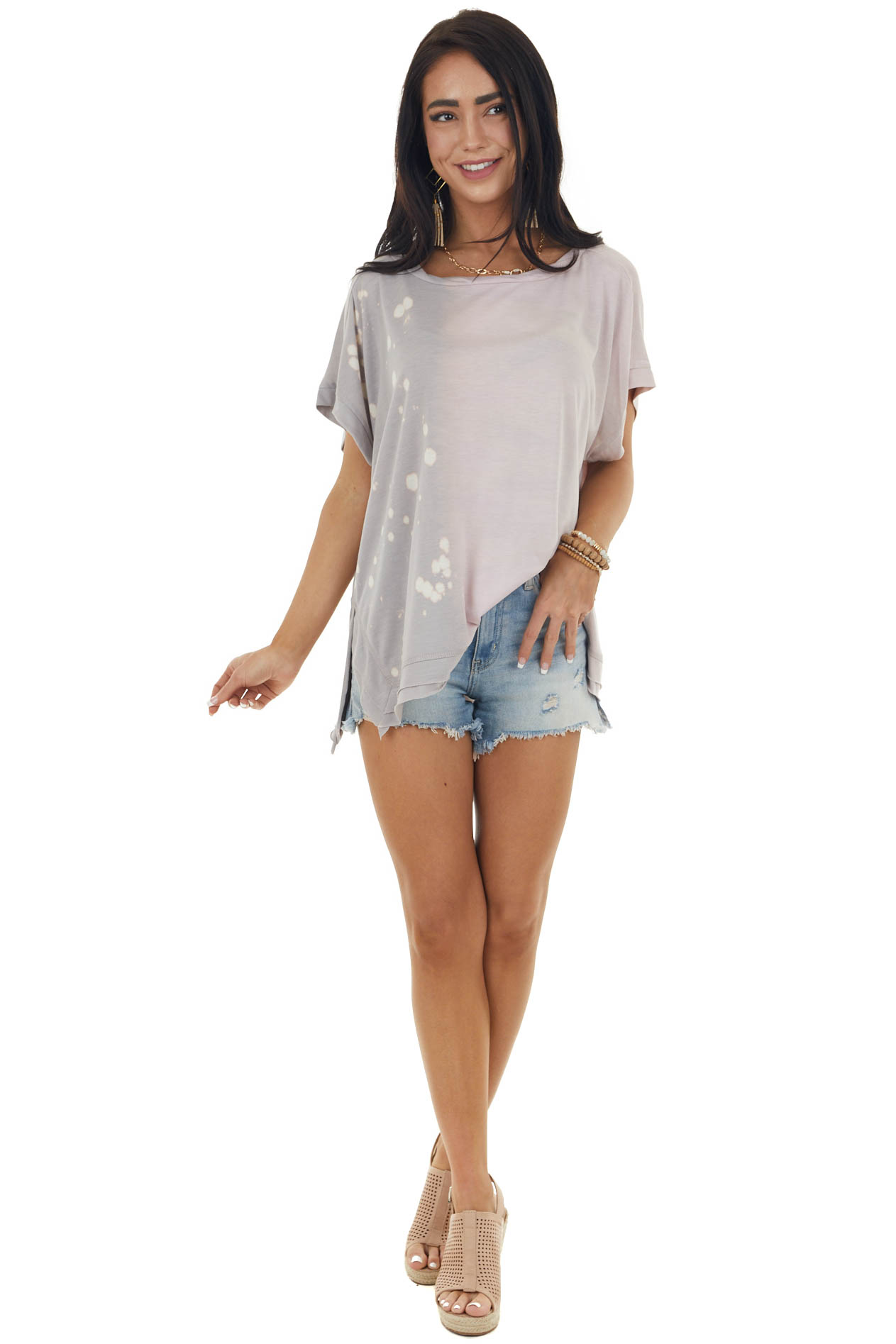 Light Mauve Ombre Printed Top with Side Slits
