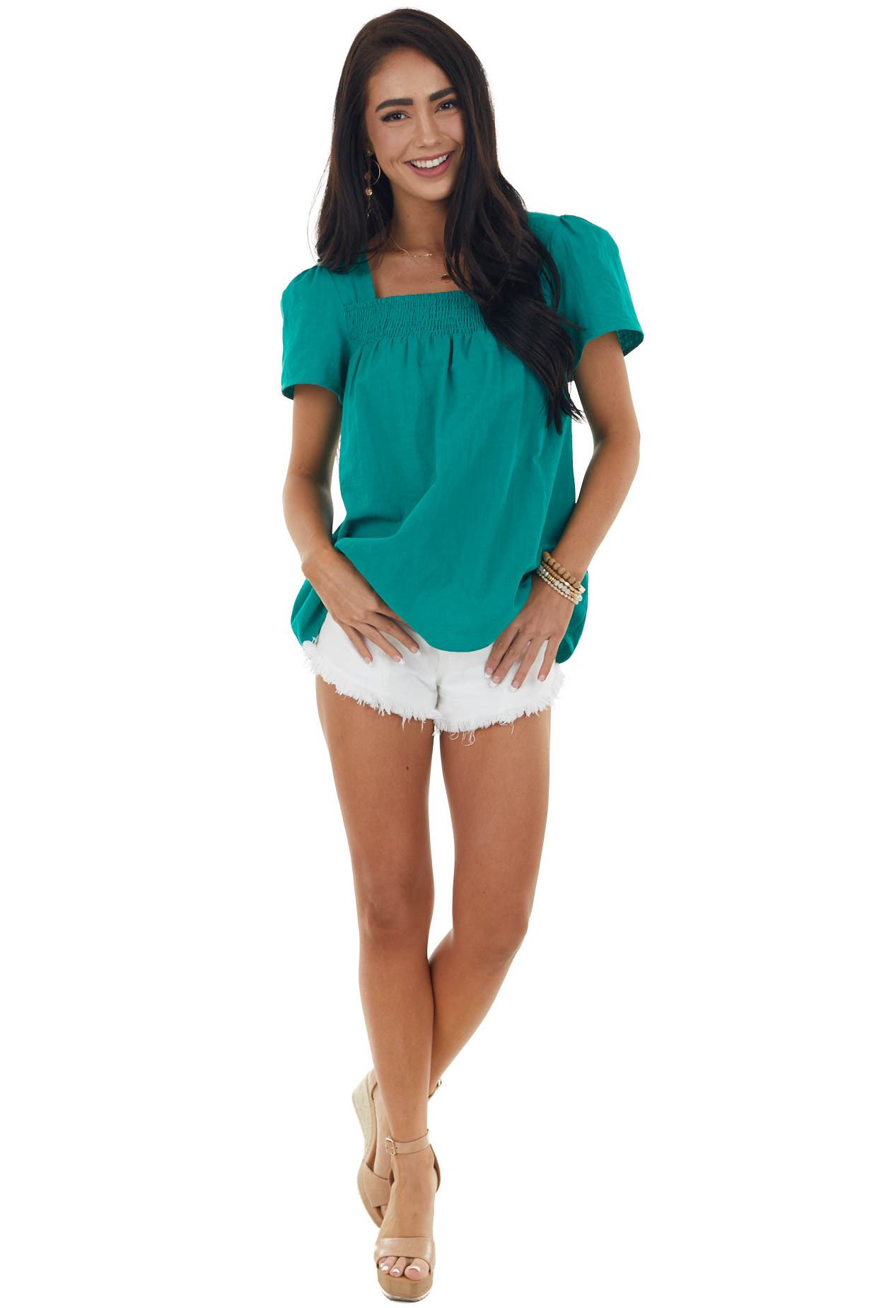 Rich Kelly Green Square Neck Puff Sleeve Blouse