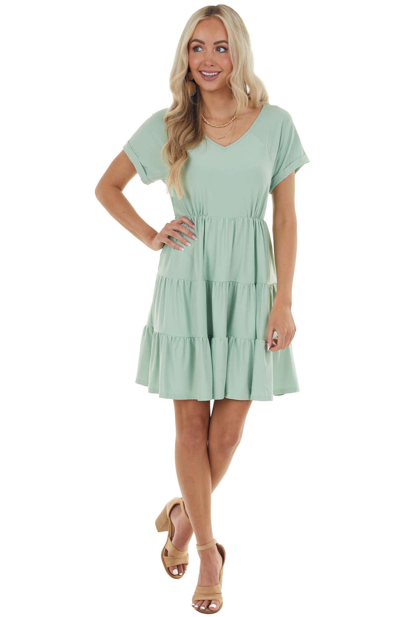 Seafoam Tiered V Neck Dress with Short Sleeves