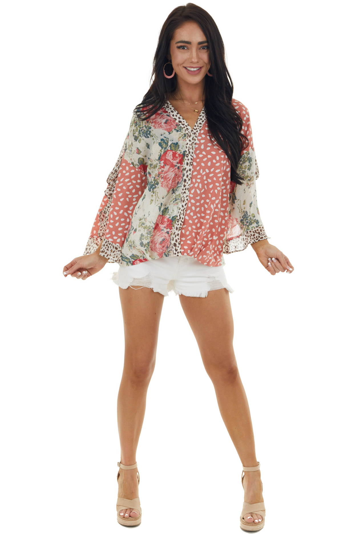 Dusty Punch Multiprint Woven Blouse with Open Flare Sleeves