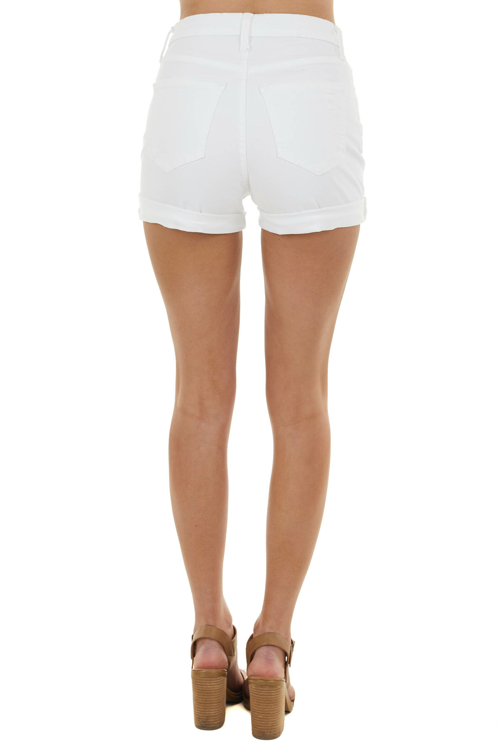 White High Rise Distressed Jean Shorts