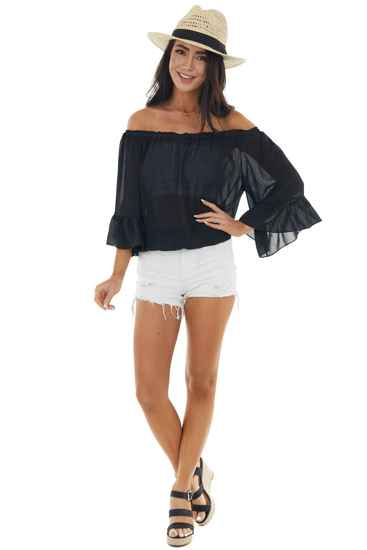 Black Off The Shoulder Top with Ruffle Detail