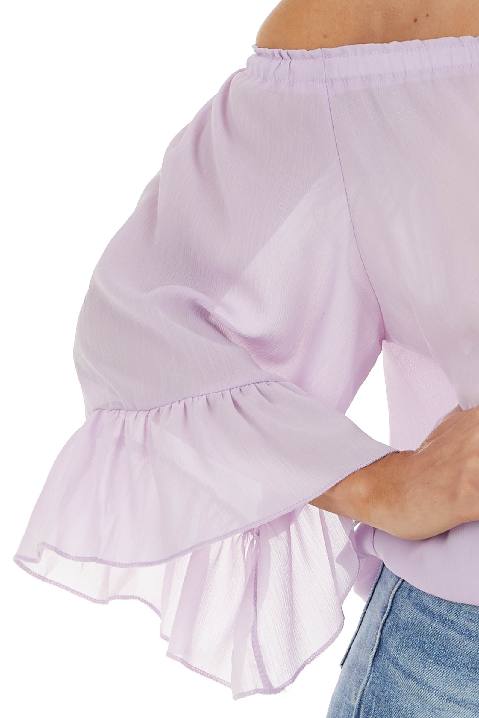Lavender Off The Shoulder Top with Ruffle Detail