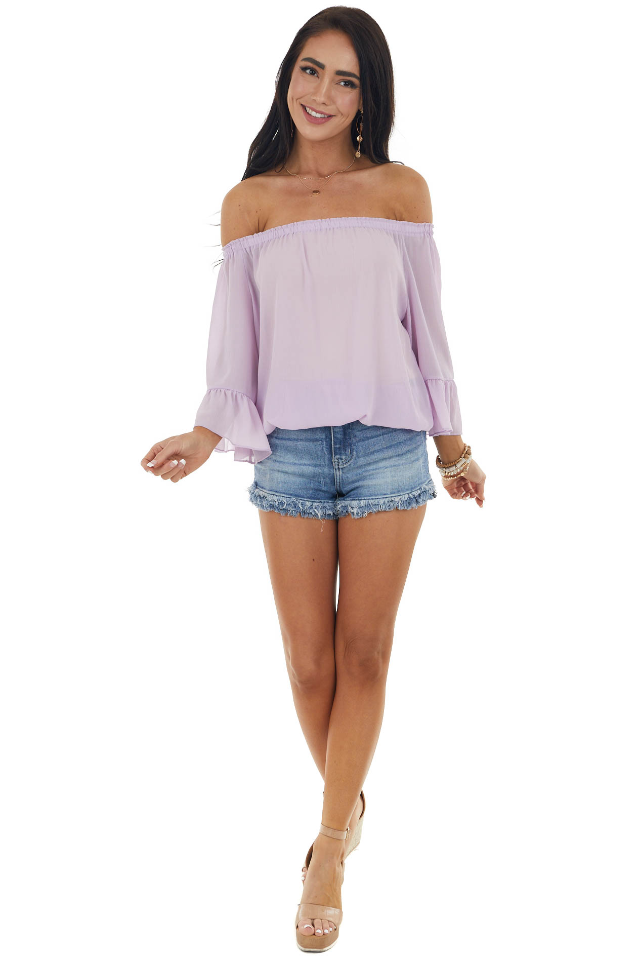 LavendeLavender Off The Shoulder Top with Ruffle Detail
