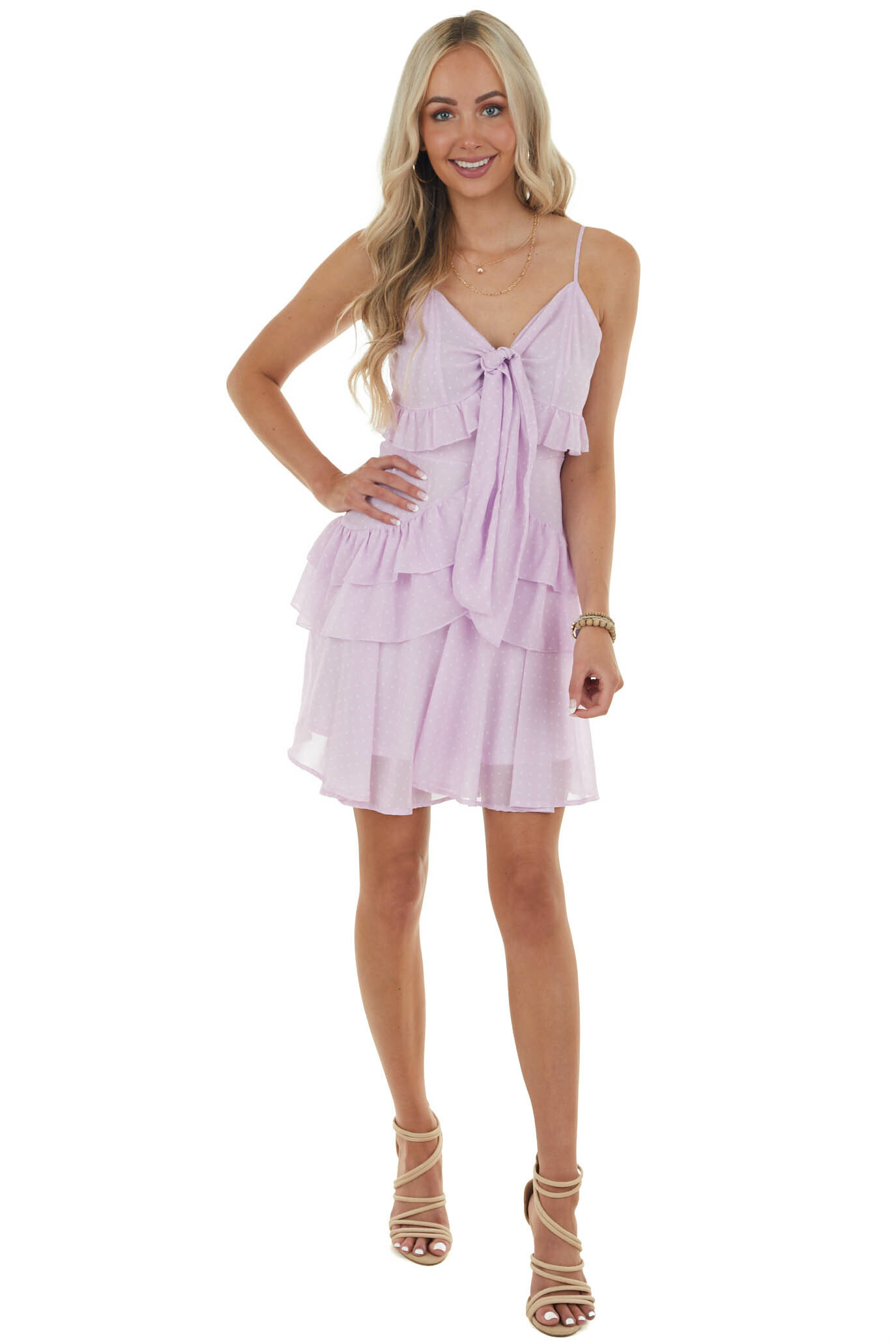 Orchid and Ivory Polka Dot Tiered Mini Dress