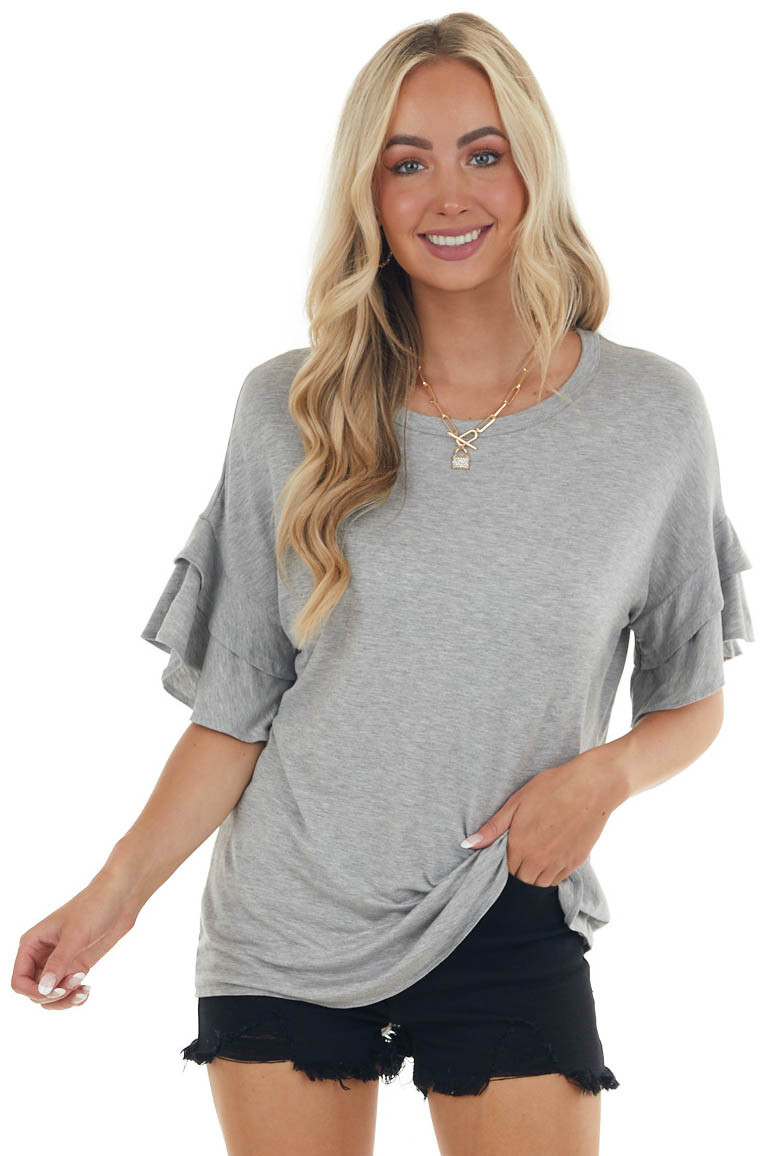 Heathered Steel Knit Top with Short Layered Ruffle Sleeves