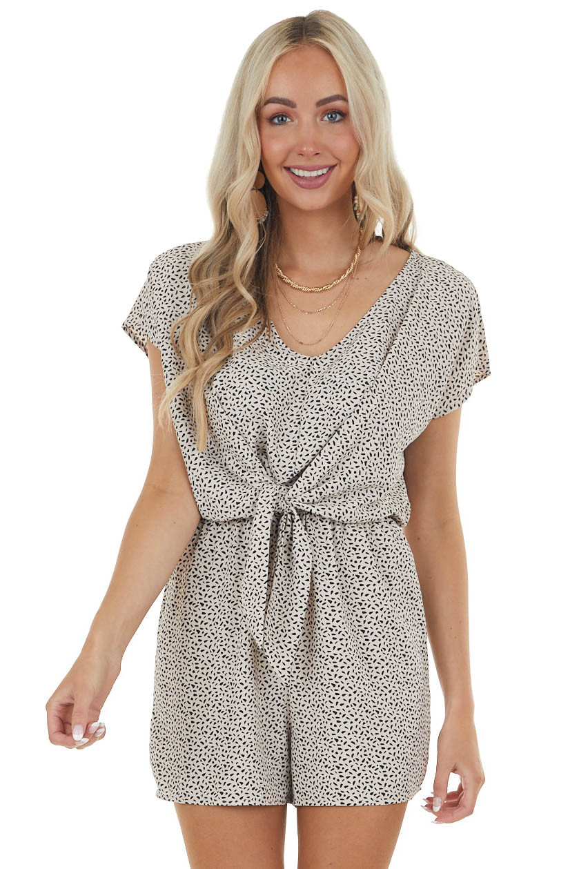 Oatmeal Abstract Print Romper with Front Tie