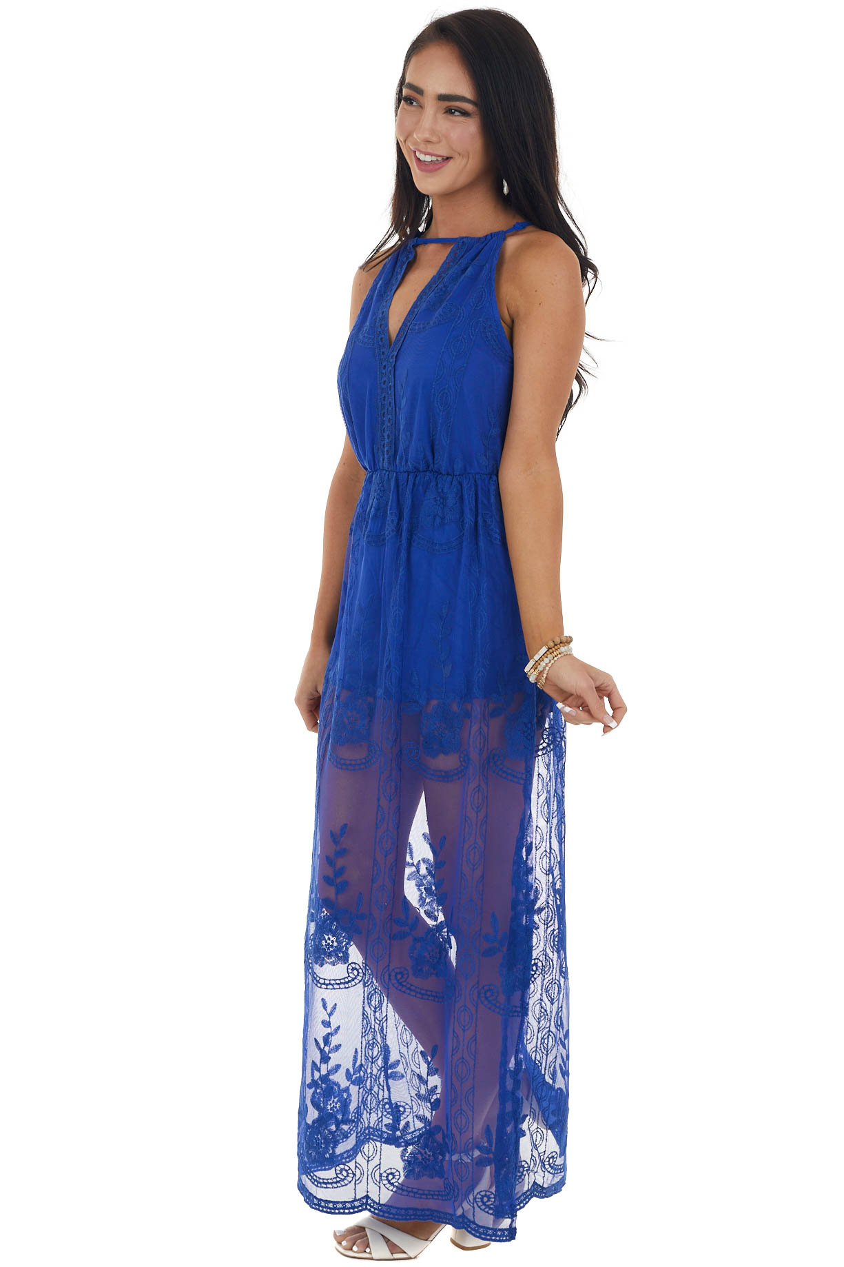 Royal Blue Lace Maxi Overlay Halter Romper