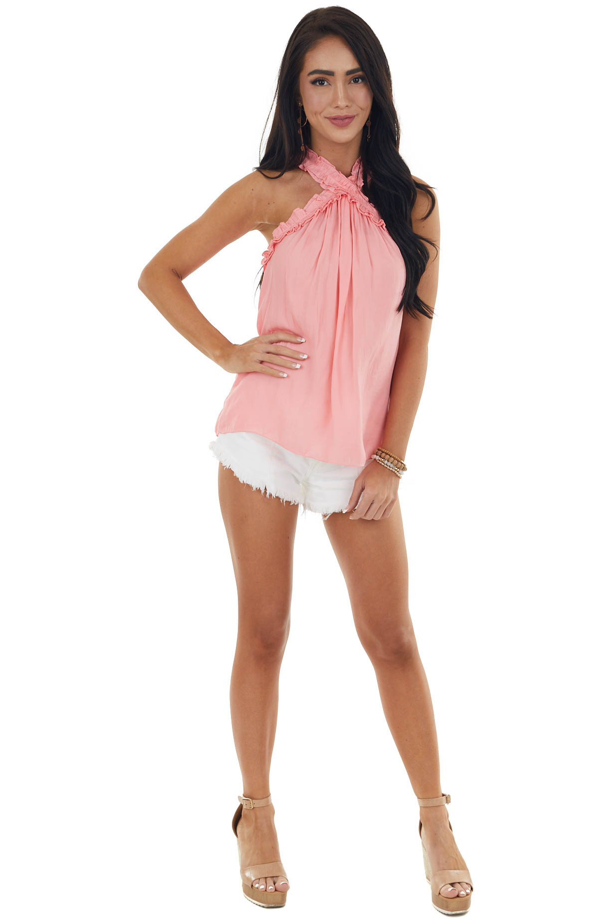 Punch Halter Neck Sleeveless Top with Frill Detail
