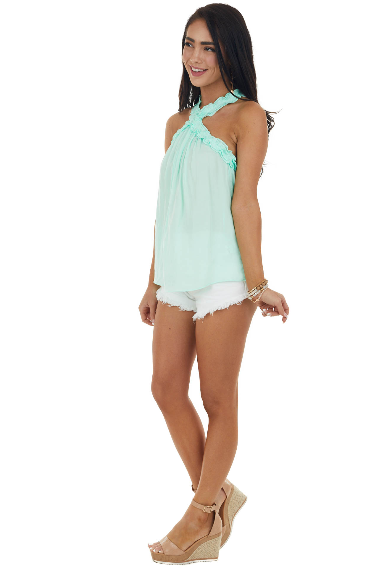 Bright Mint Halter Neck Sleeveless Top with Frill Detail
