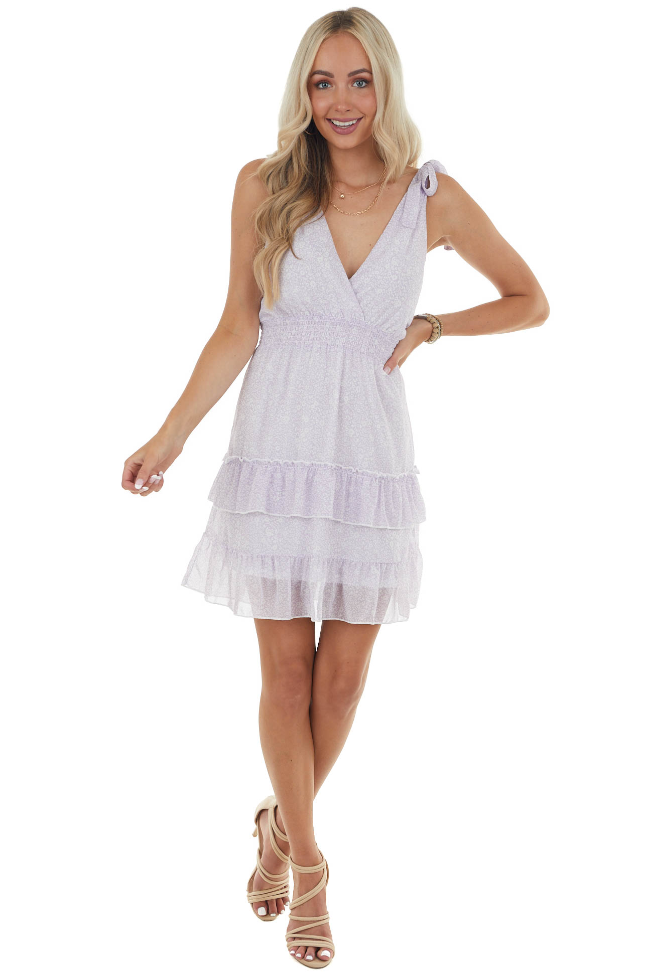 Lilac and Ivory Ditsy Floral Short Woven Dress