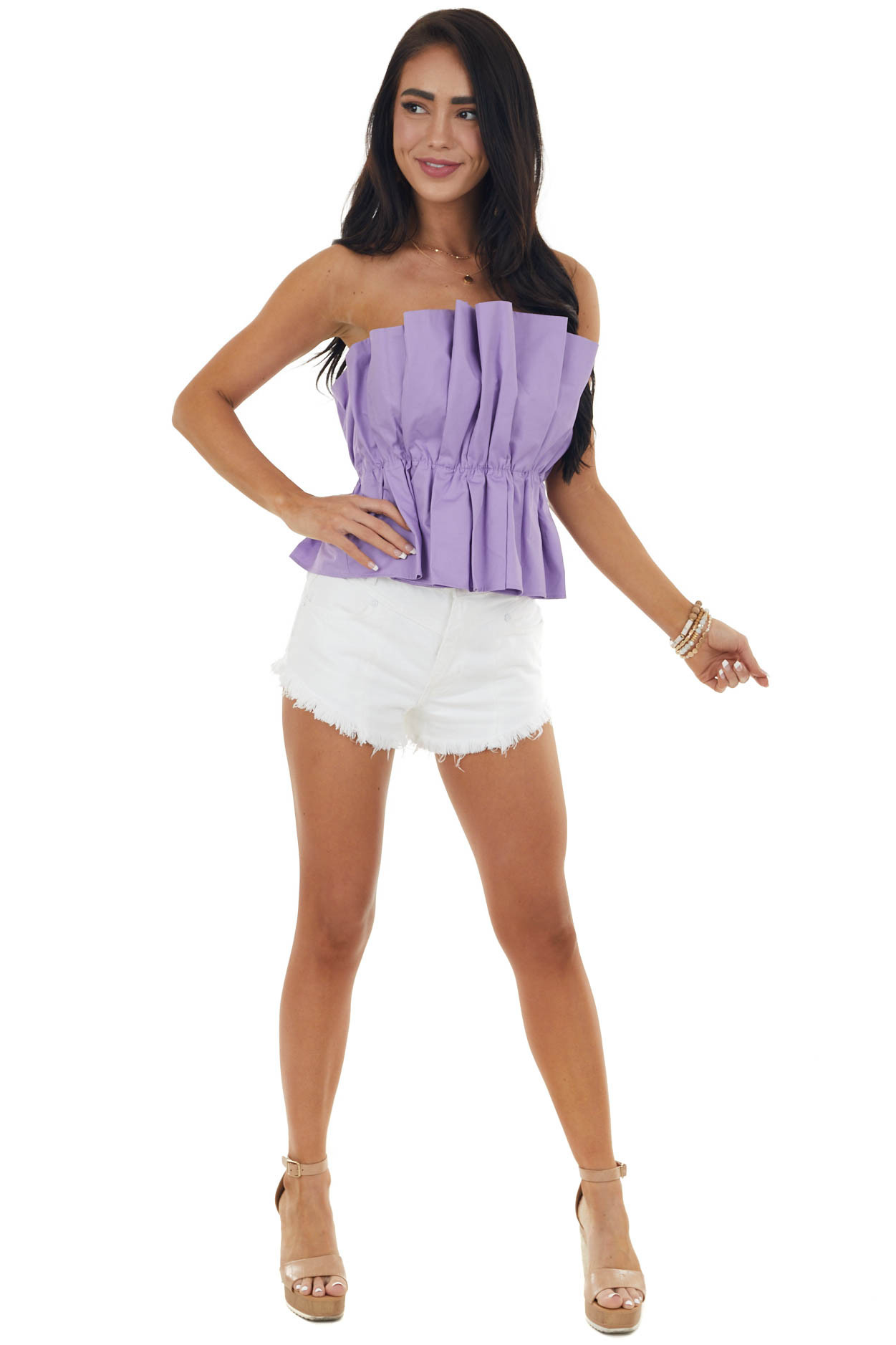 Iris Strapless Pleated Woven Top with Elastic Waist
