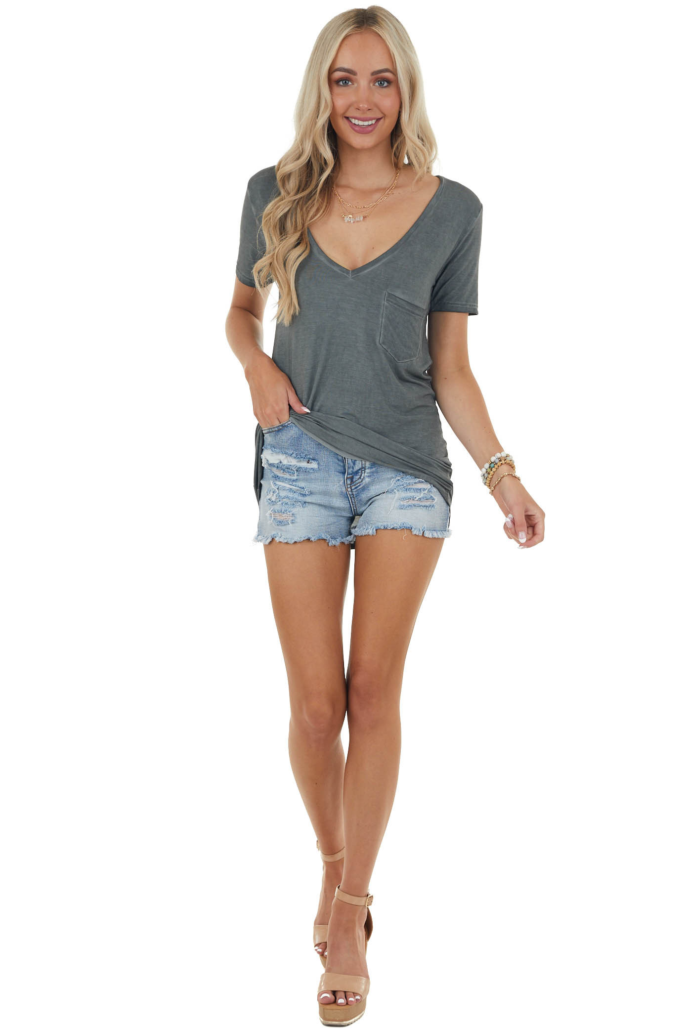 Charcoal V Neck Knit Top with Front Pocket
