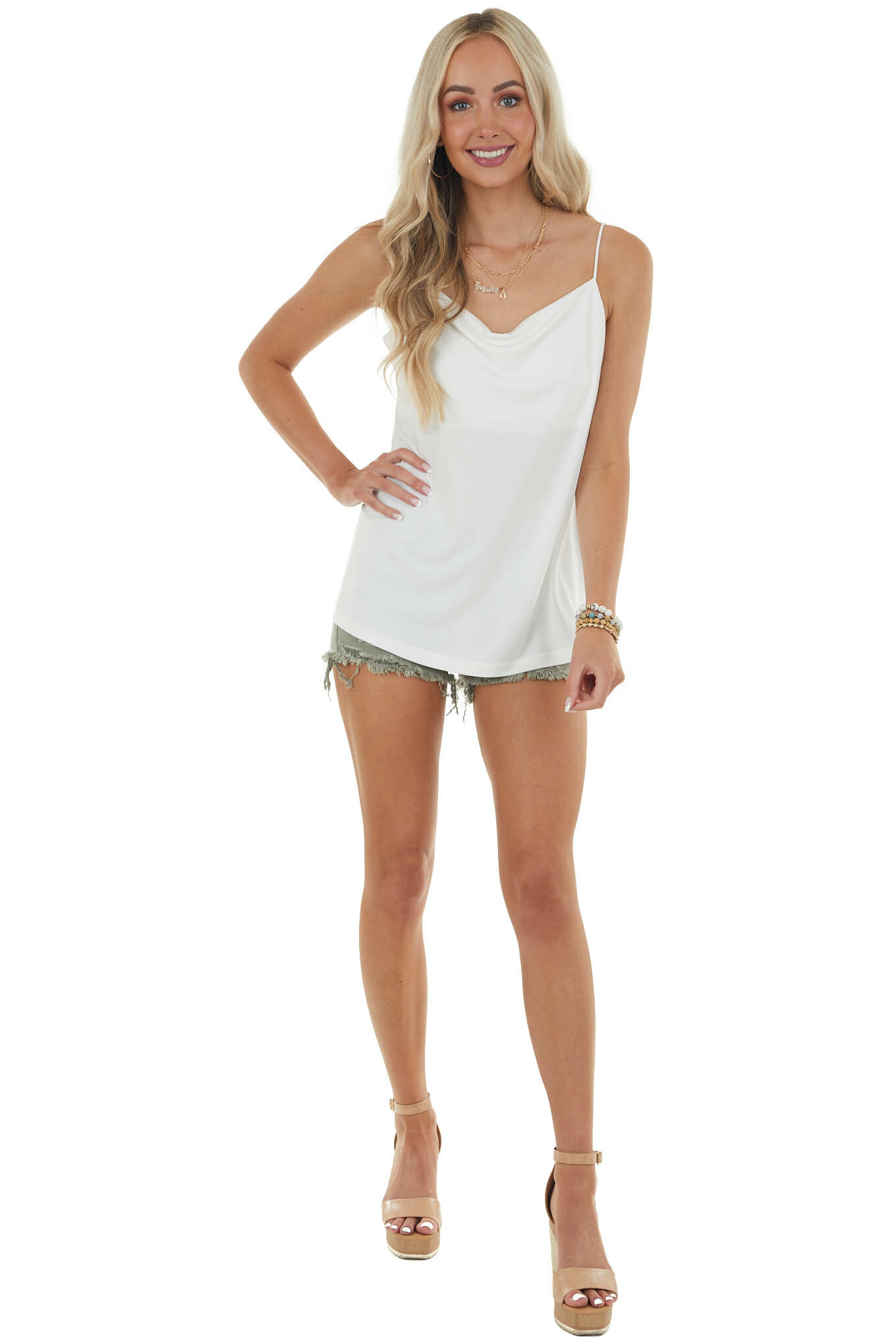 Off White Knit Camisole with Draped Neckline