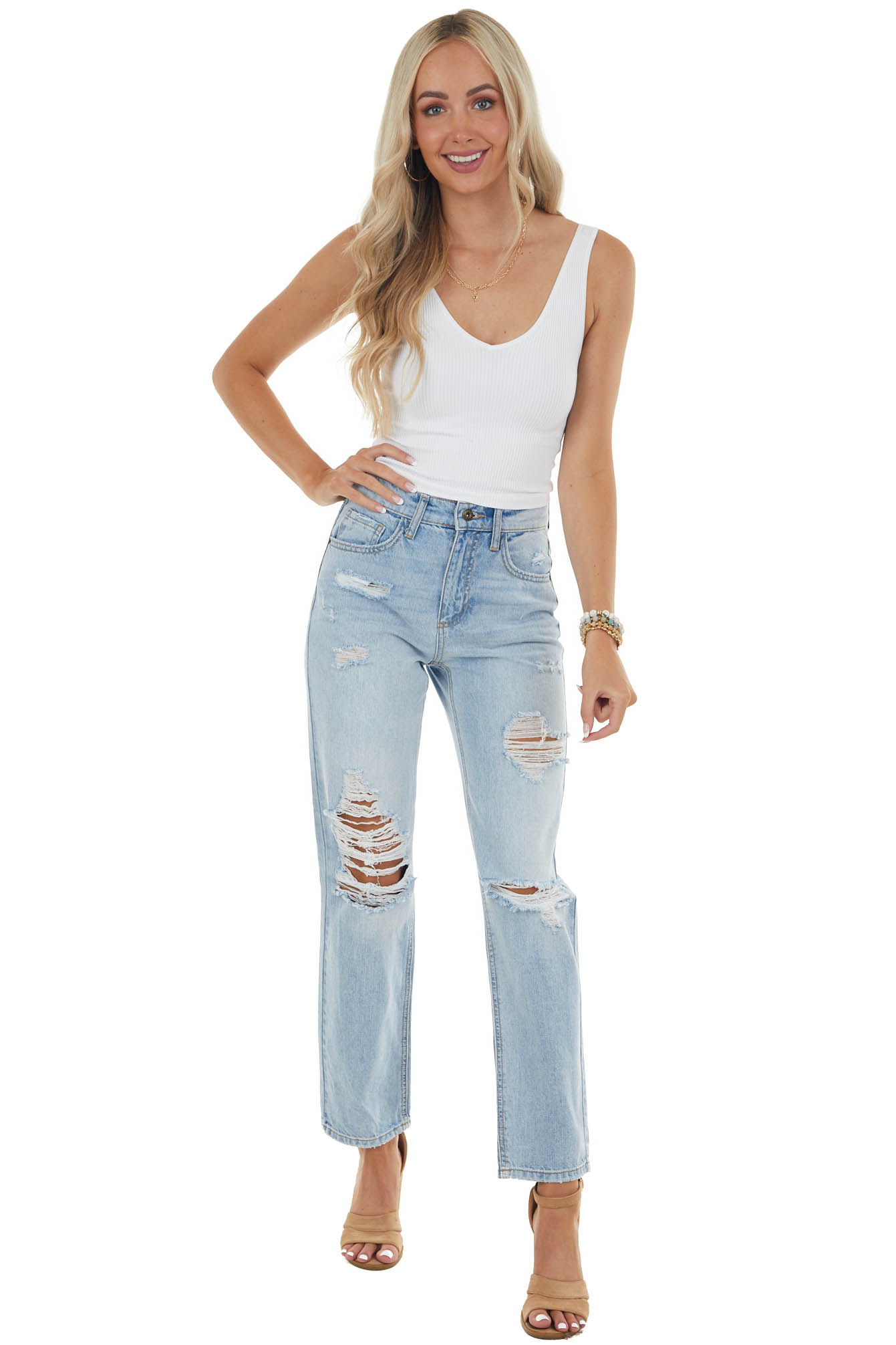 Light Wash High Rise Distressed Straight Jeans