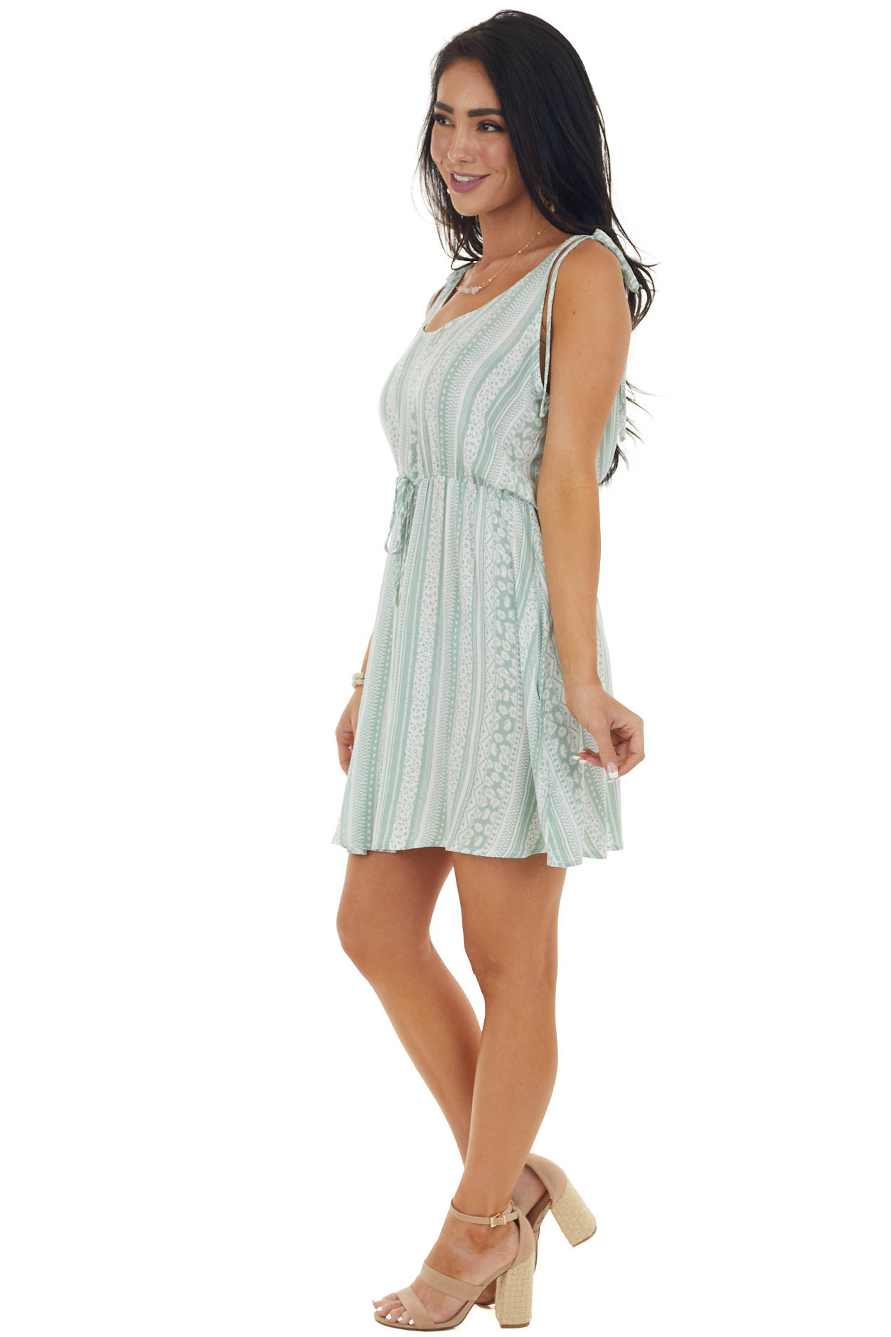 Sage Multiprint Woven Dress with Tie Straps
