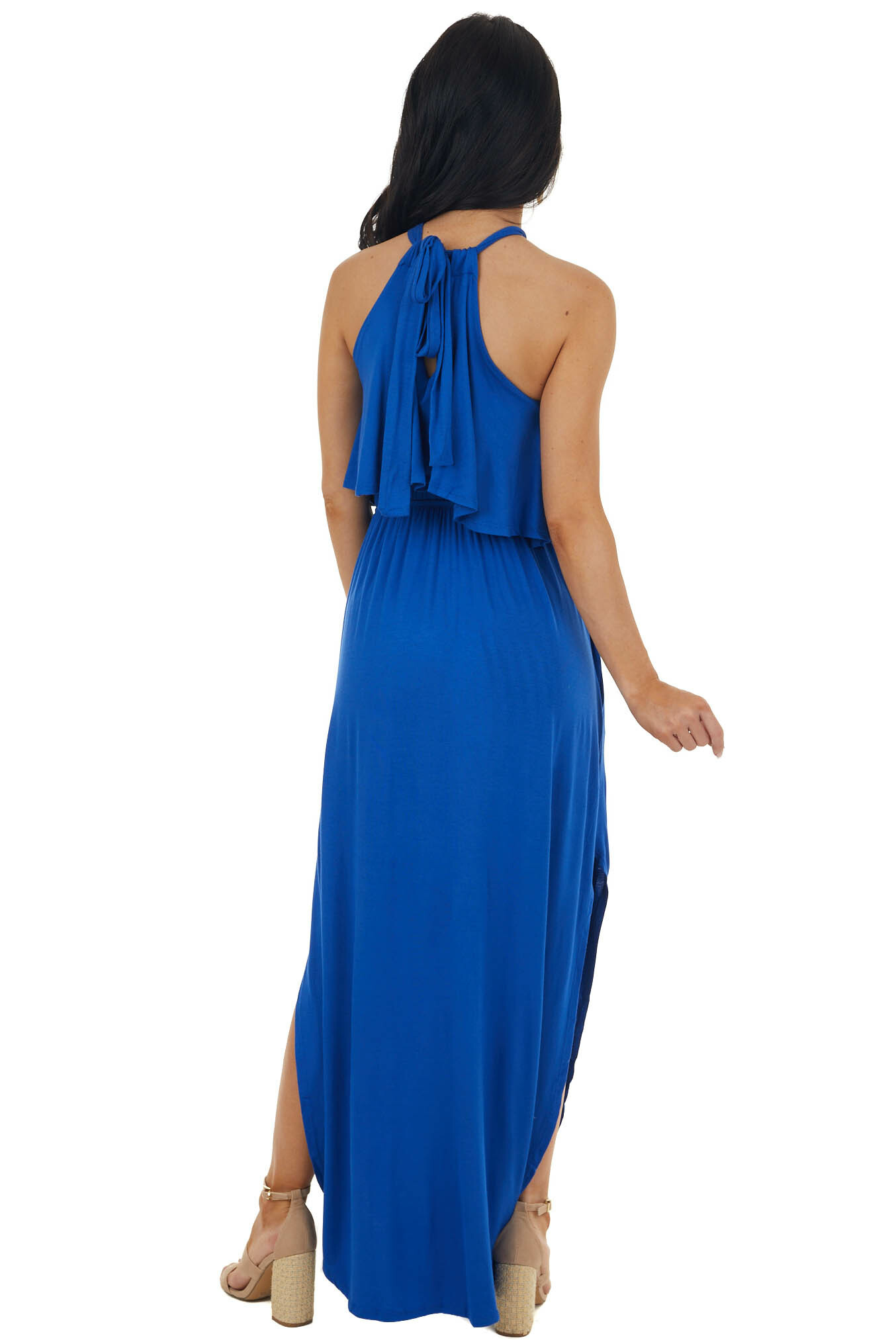 Royal Blue Halter Maxi Dress with Side Slits and Pockets