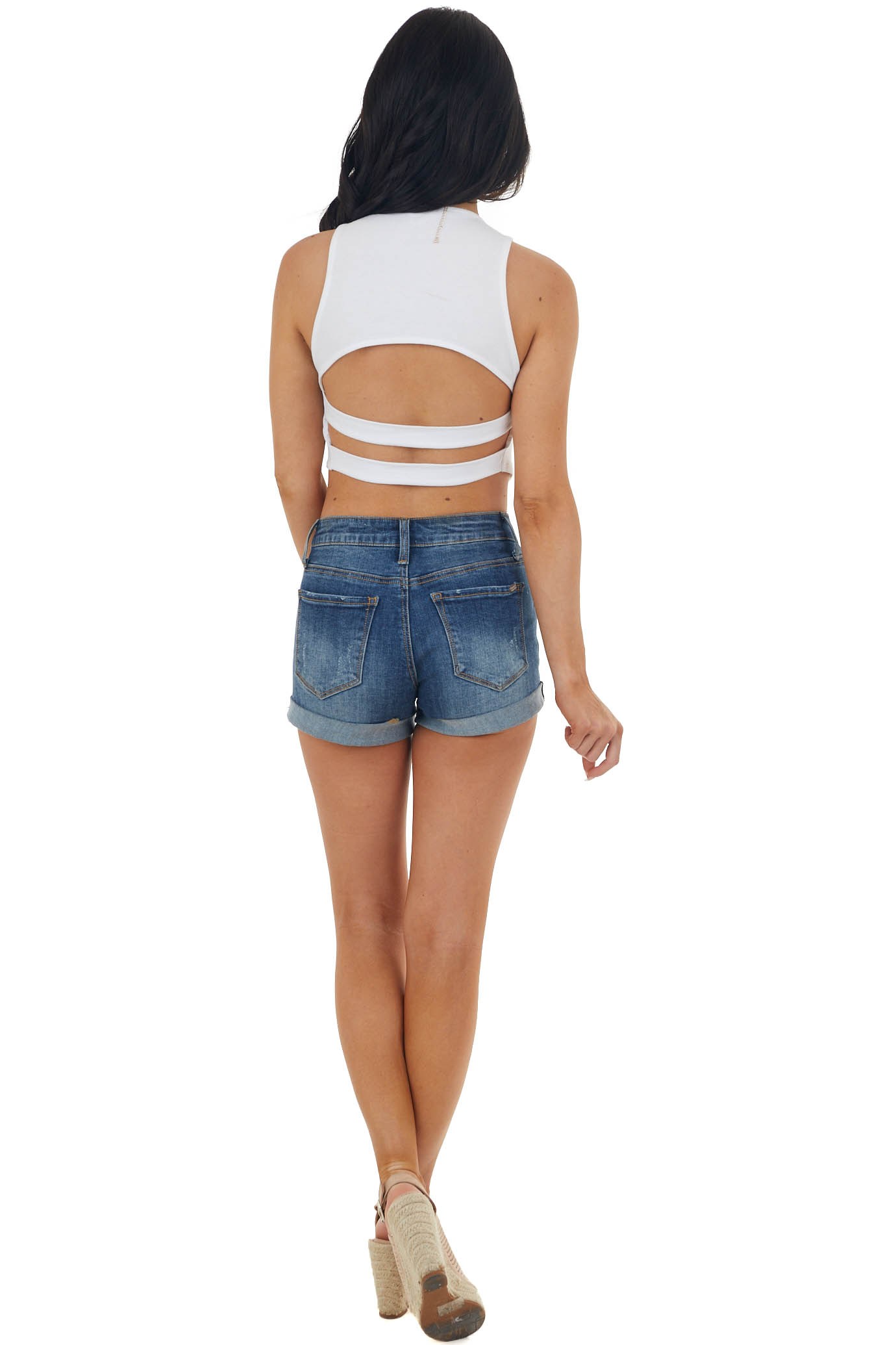 White Sleeveless Strappy Open Back Crop Top