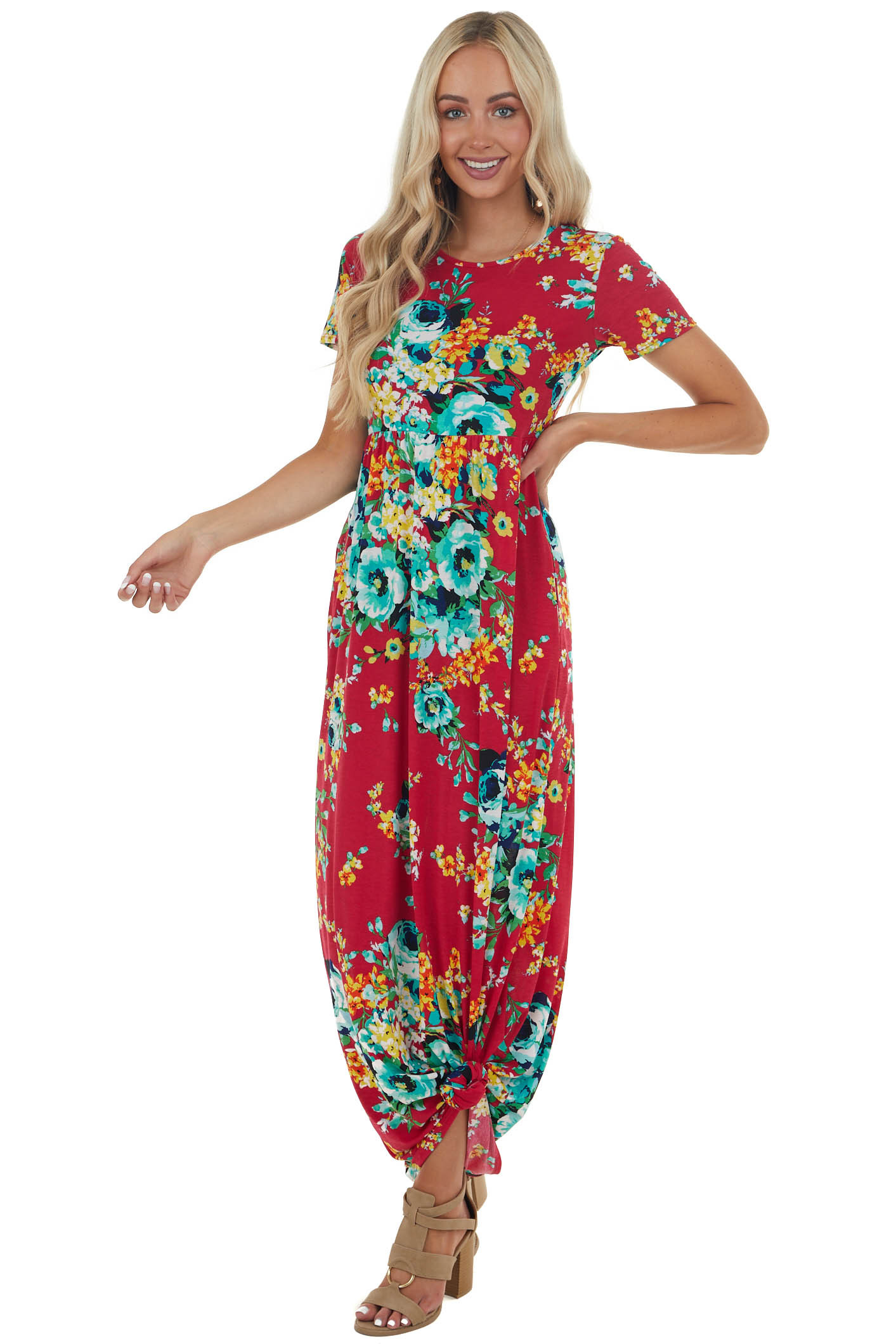 Ruby Red Floral Print Maxi Dress with Pockets