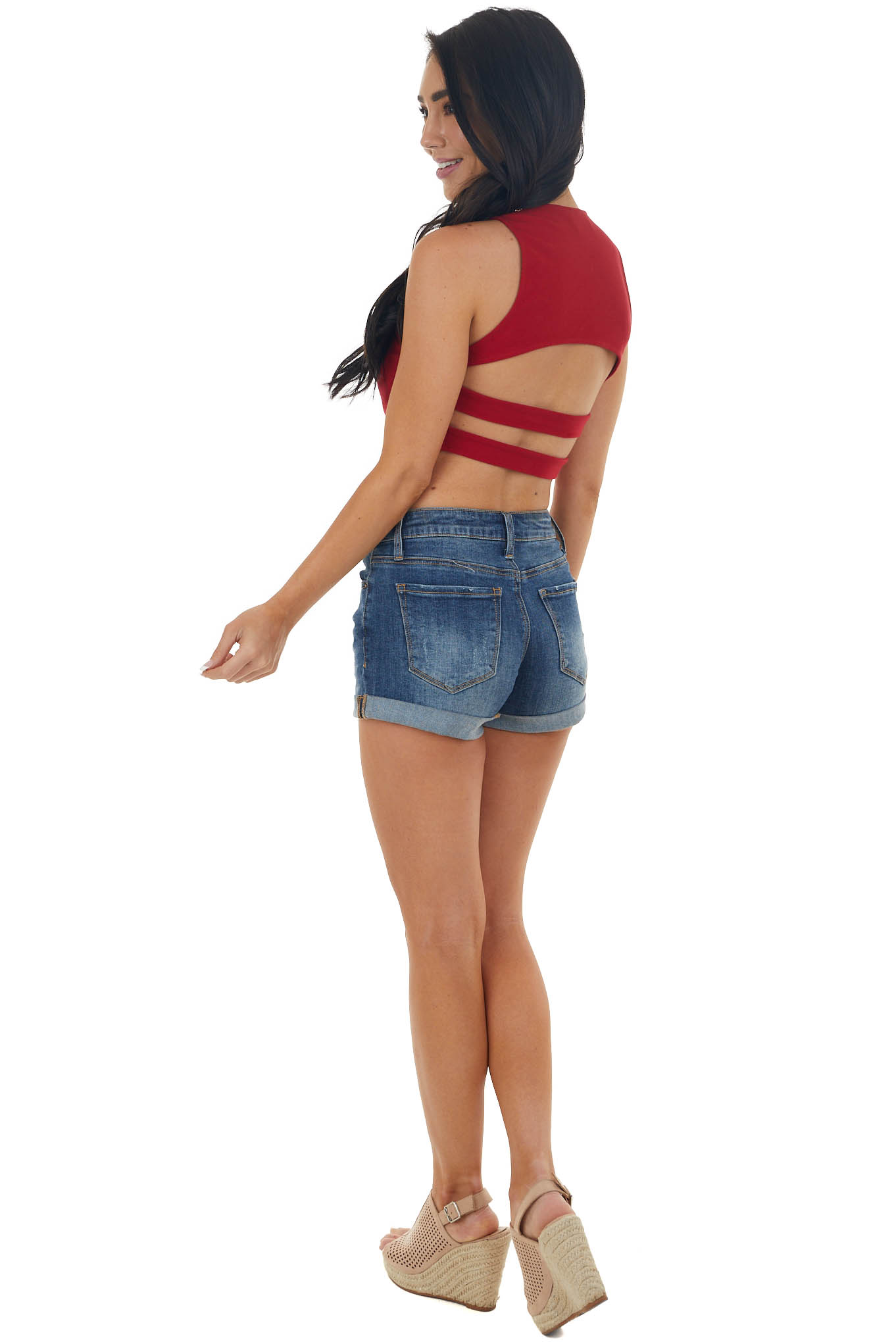 Cherry Sleeveless Strappy Open Back Crop Top