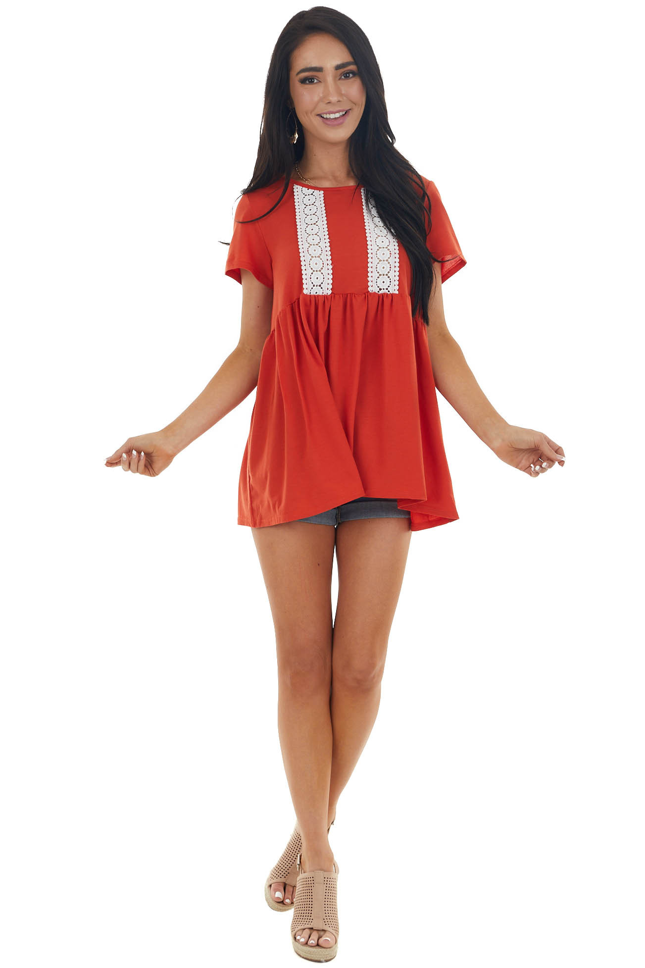 Rust Short Sleeve Top with Lace Detail